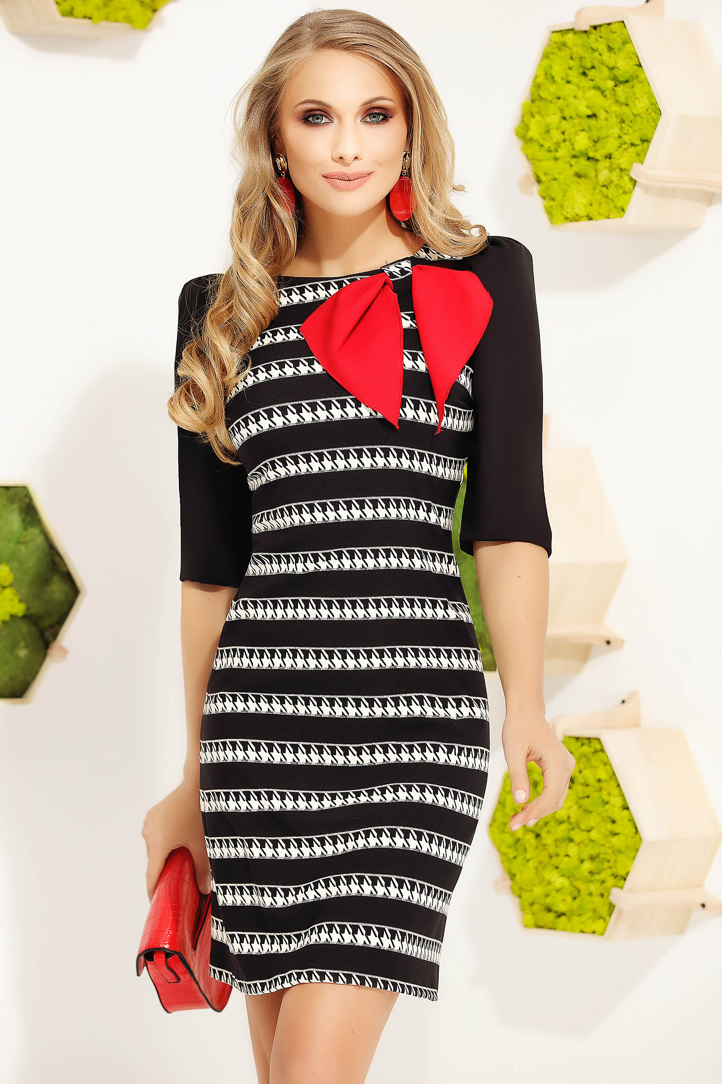 Red dress elegant short cut pencil cloth with bow with stripes