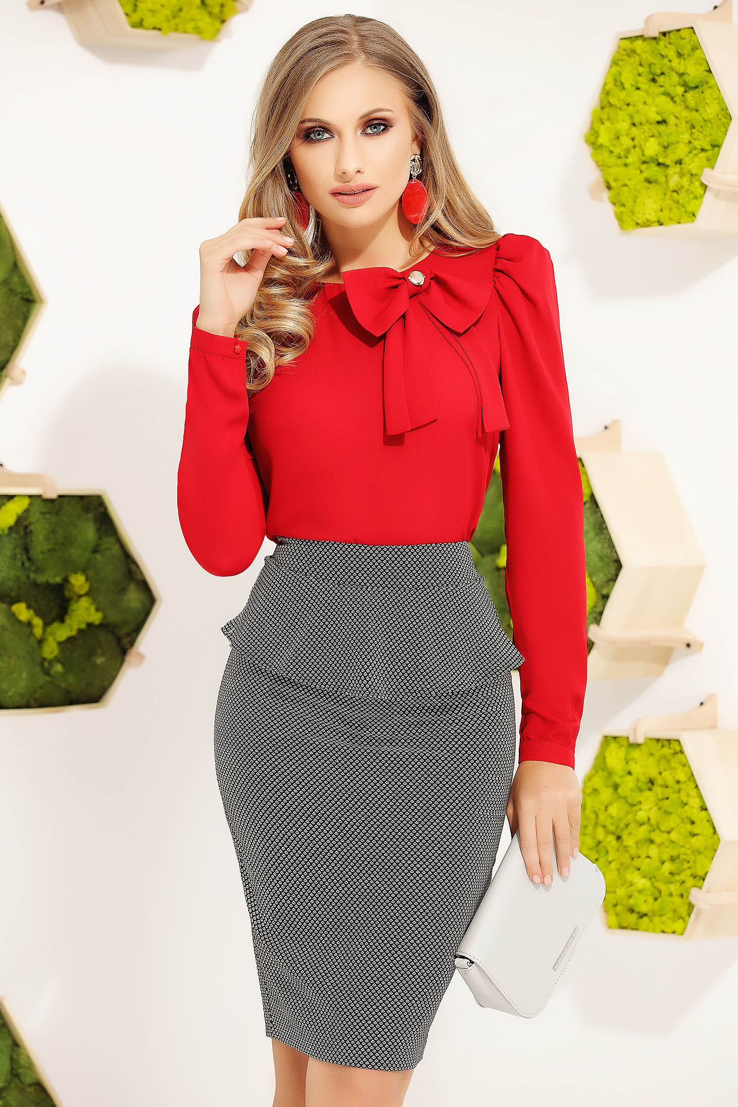 Red women`s blouse office elegant with tented cut long sleeved with bow
