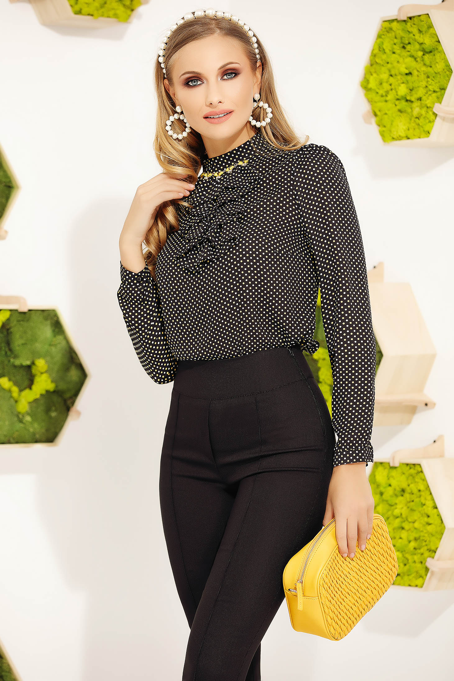 Black women`s blouse office elegant with ruffle details dots print tented