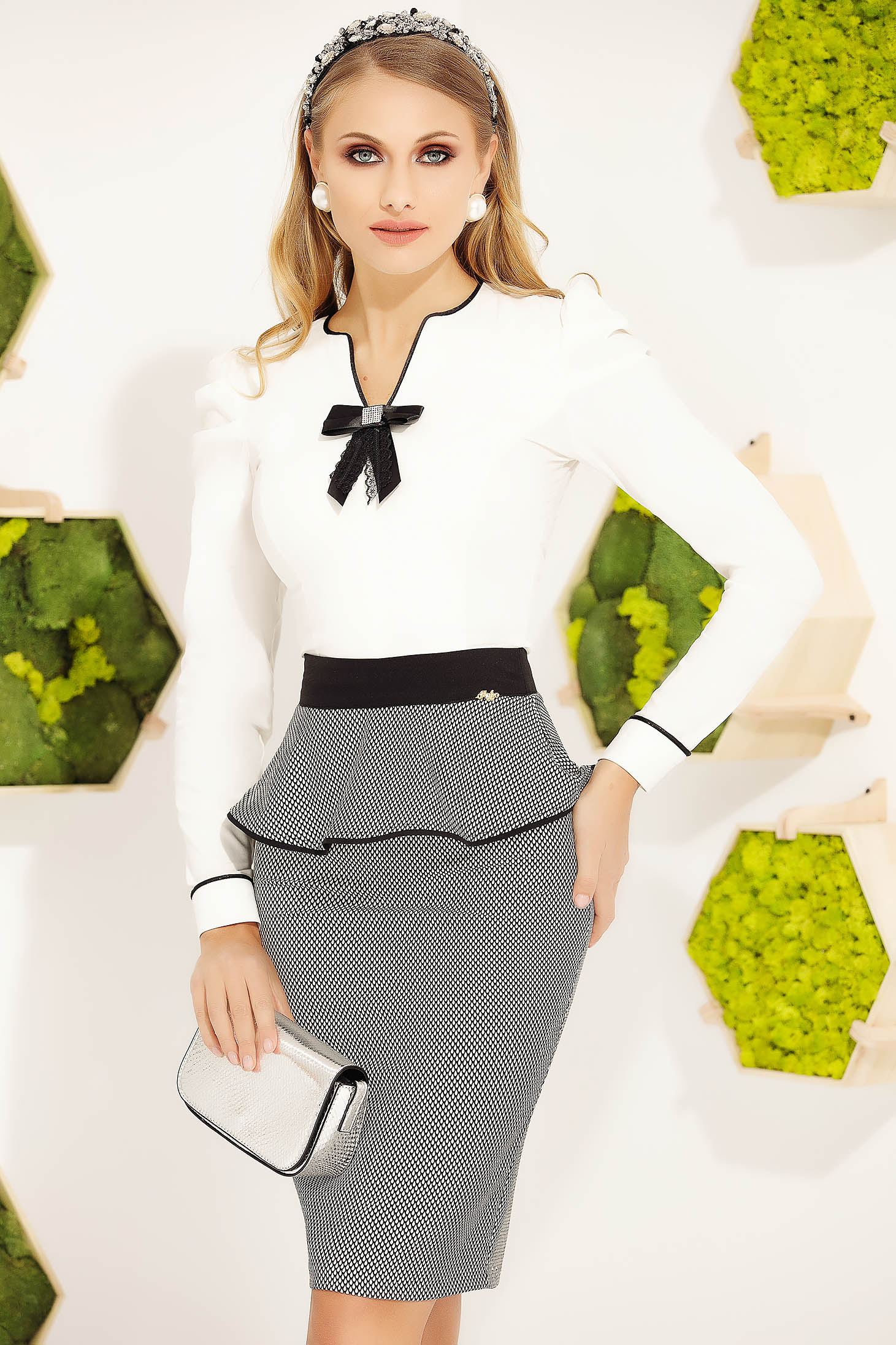 White women`s shirt office tented cotton long sleeved bow accessory