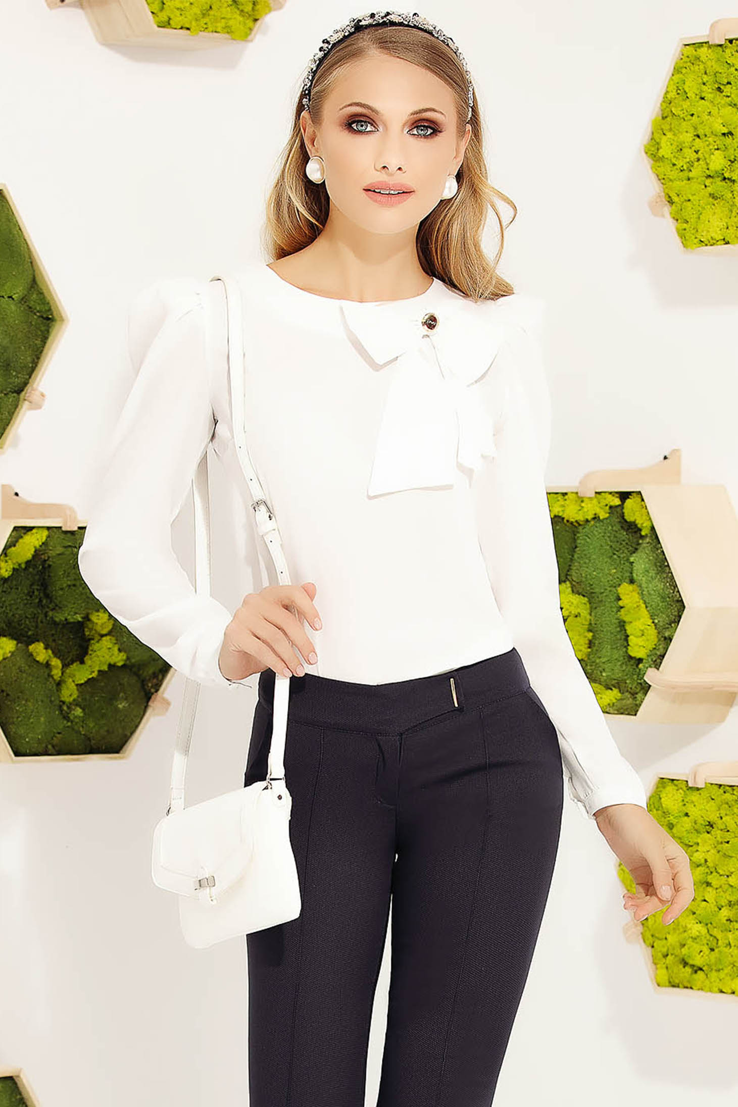 White women`s blouse office elegant with tented cut long sleeved with bow