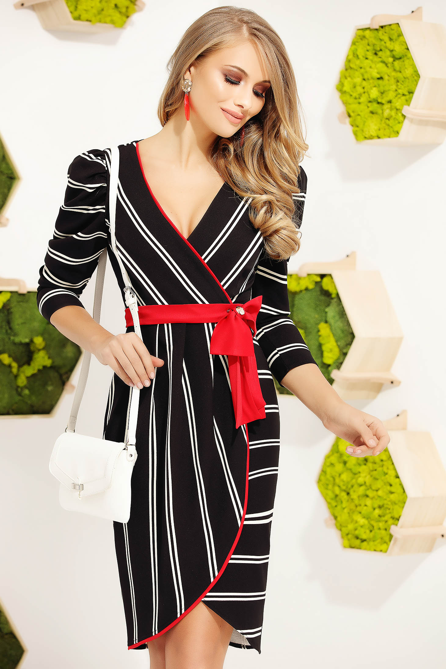 Red dress elegant midi pencil cloth with v-neckline wrap around