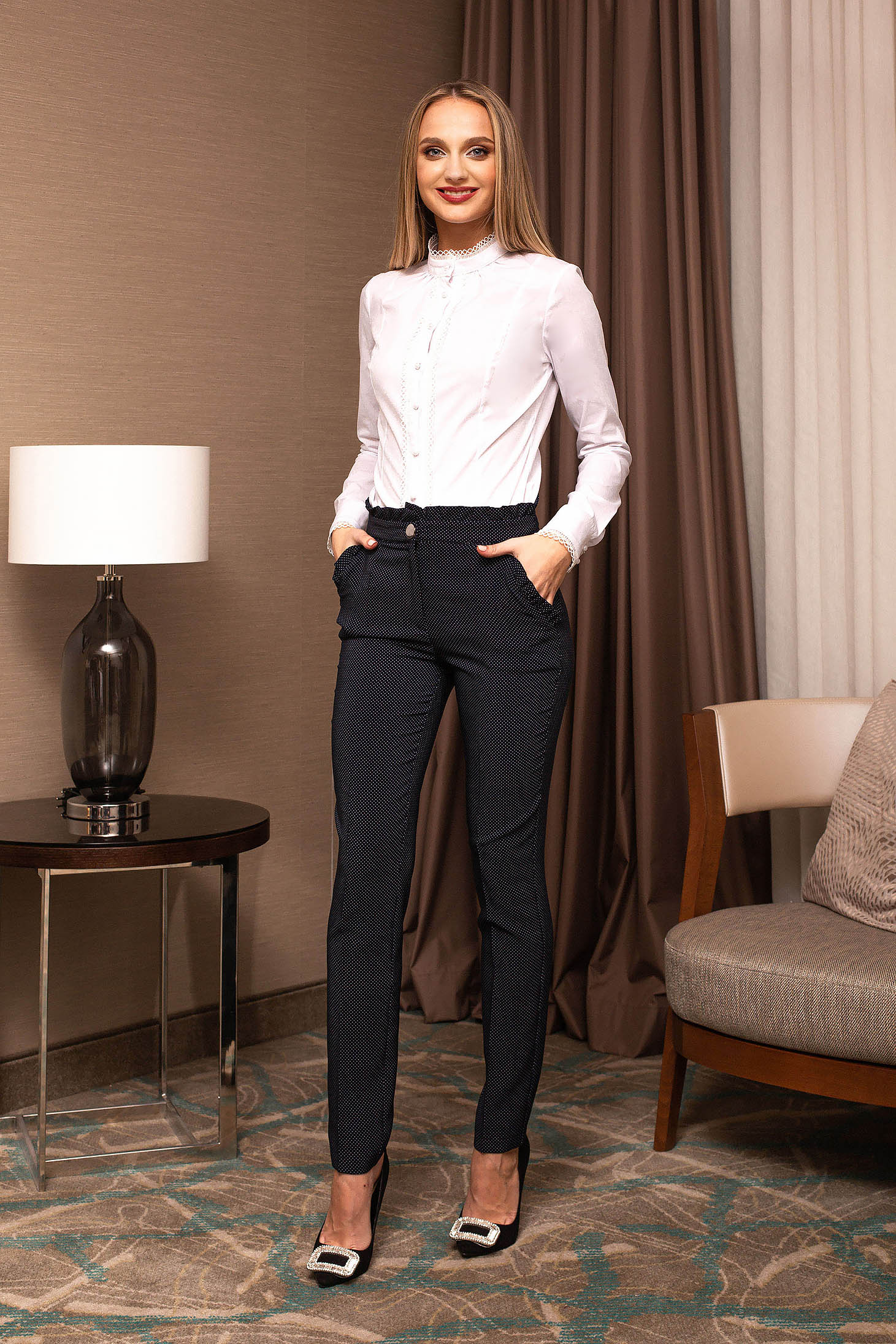 Darkblue trousers elegant high waisted cloth dots print with pockets