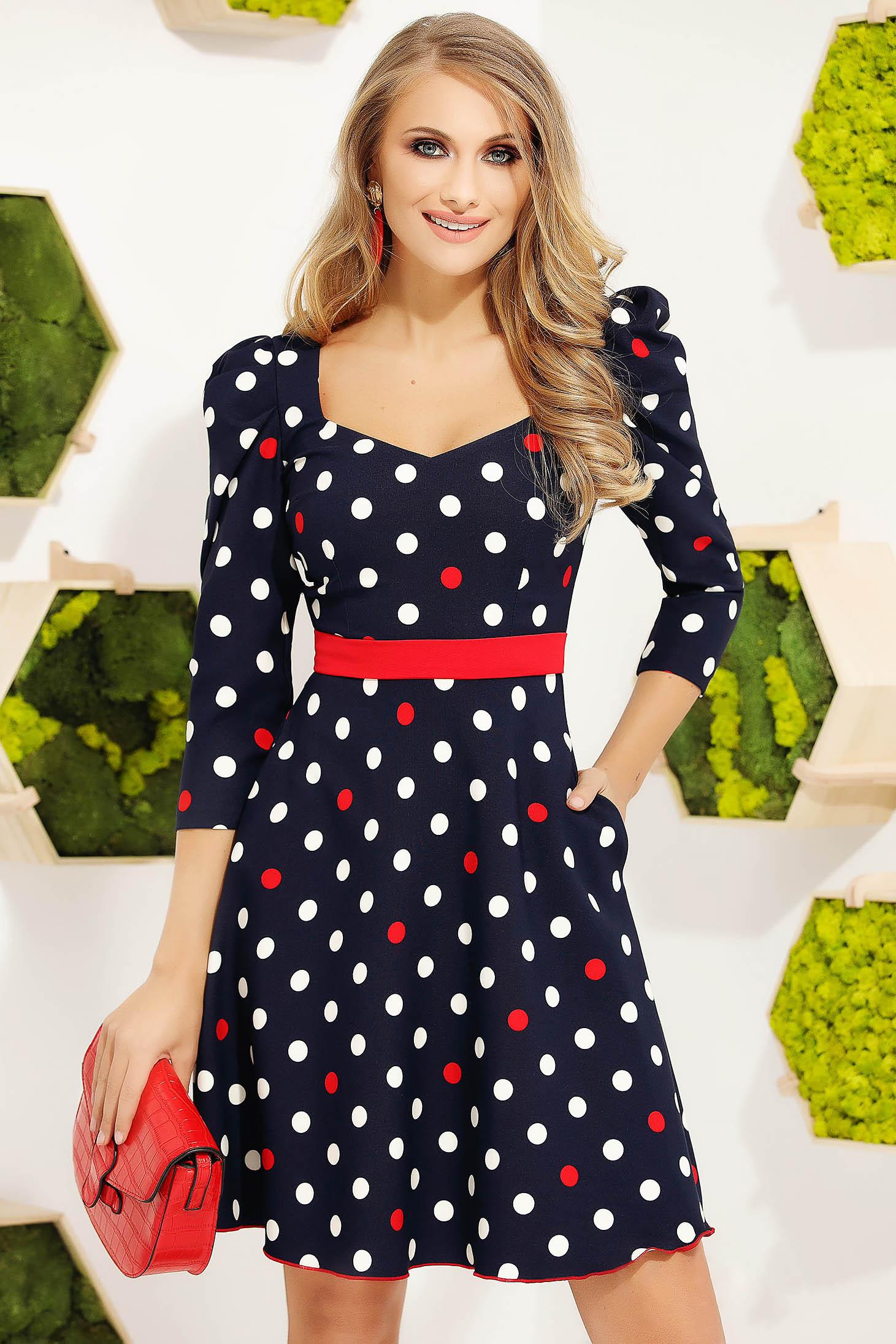 Red dress elegant short cut cloche accessorized with belt high shoulders