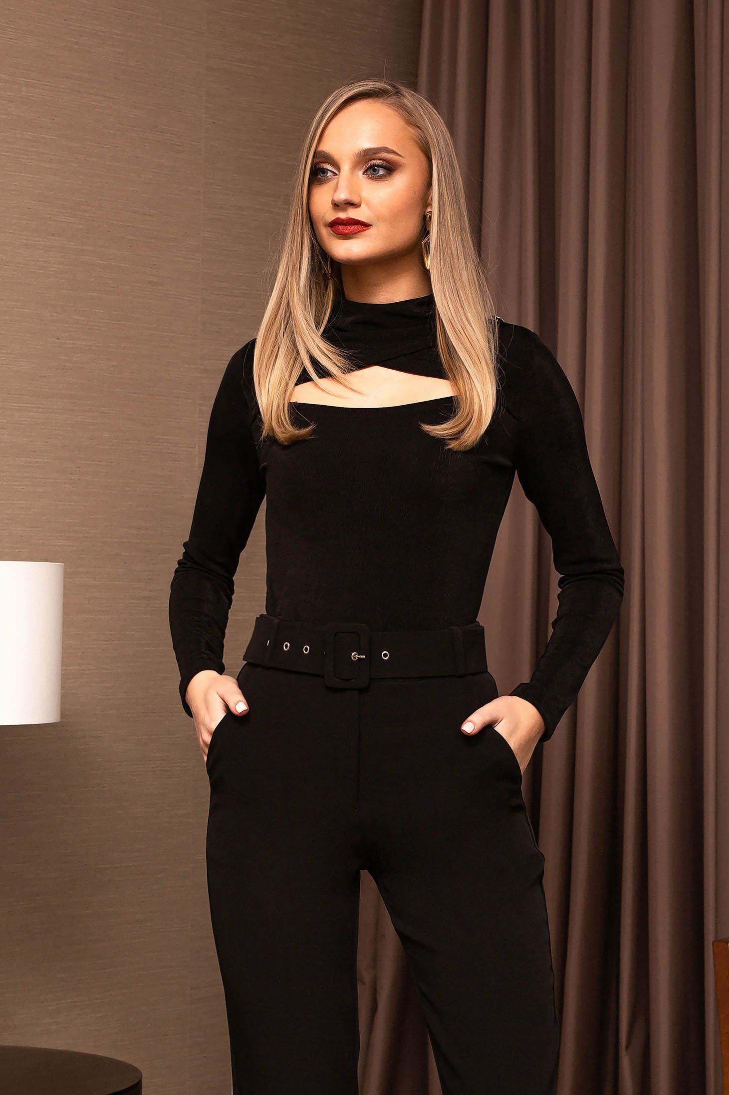 Black women`s blouse tented turtleneck elegant long sleeved