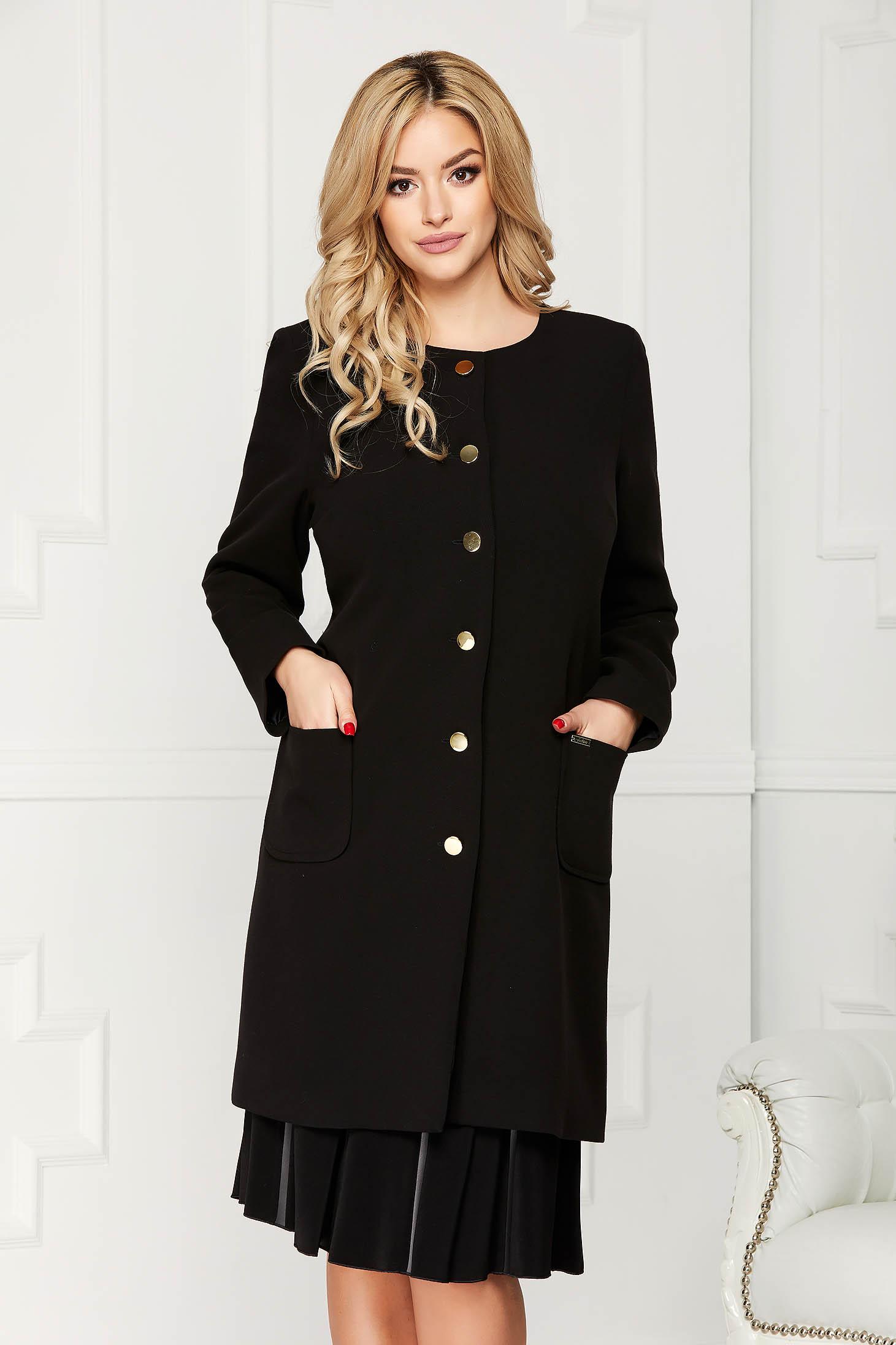 Trench negru elegant din stofa cu un croi drept cu buzunare