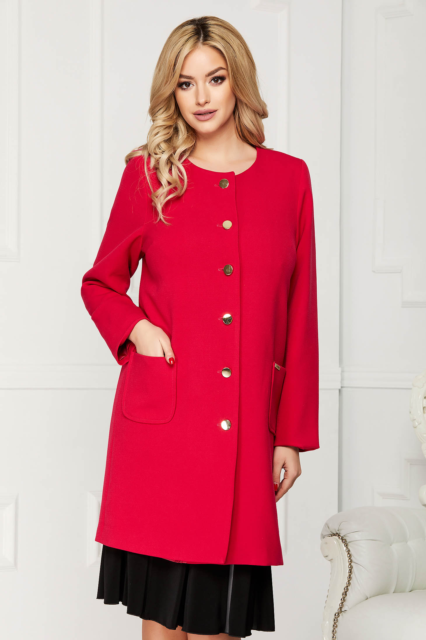 Fuchsia trenchcoat elegant cloth straight with pockets