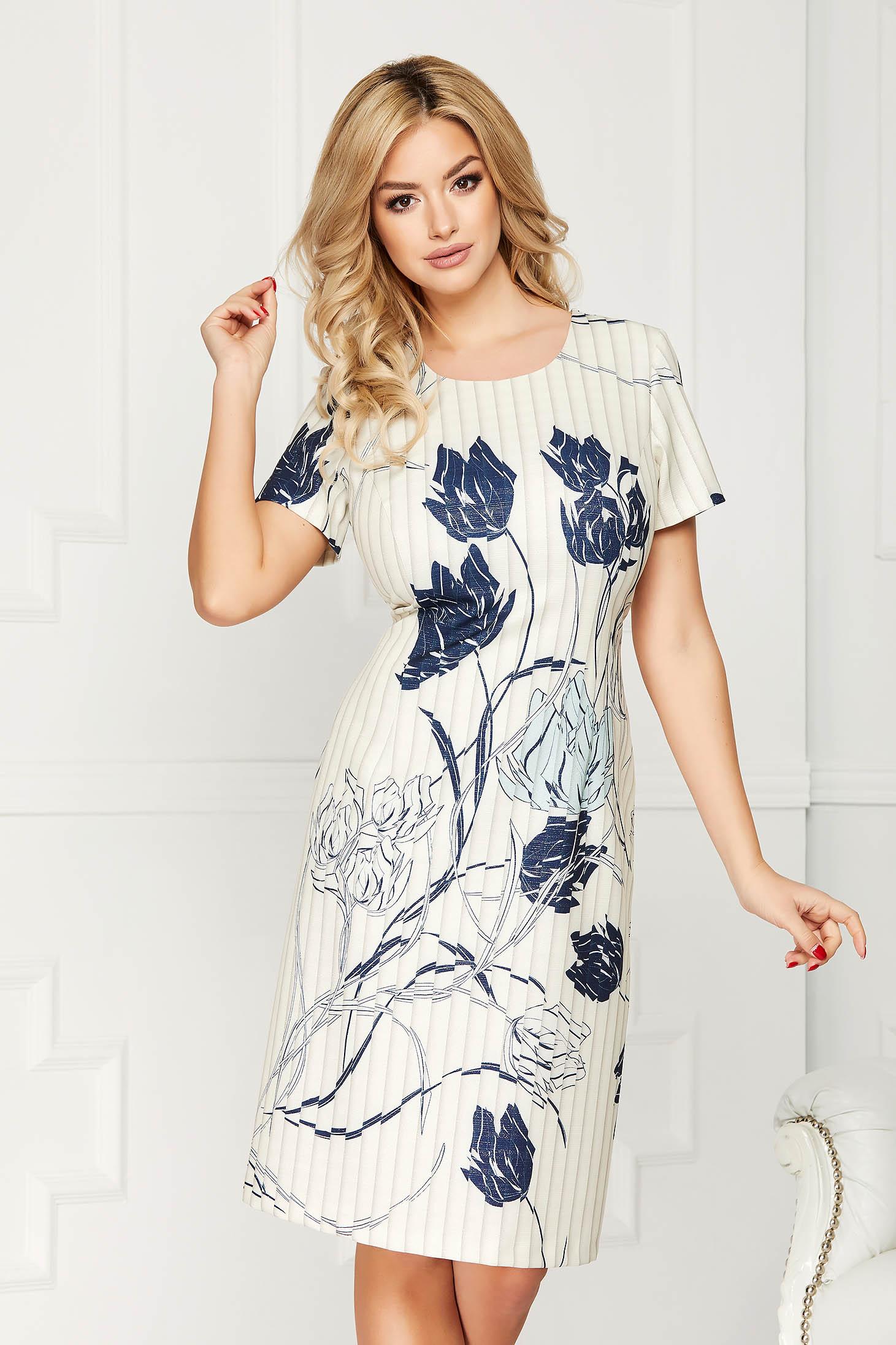 Blue dress elegant office midi straight cloth short sleeves