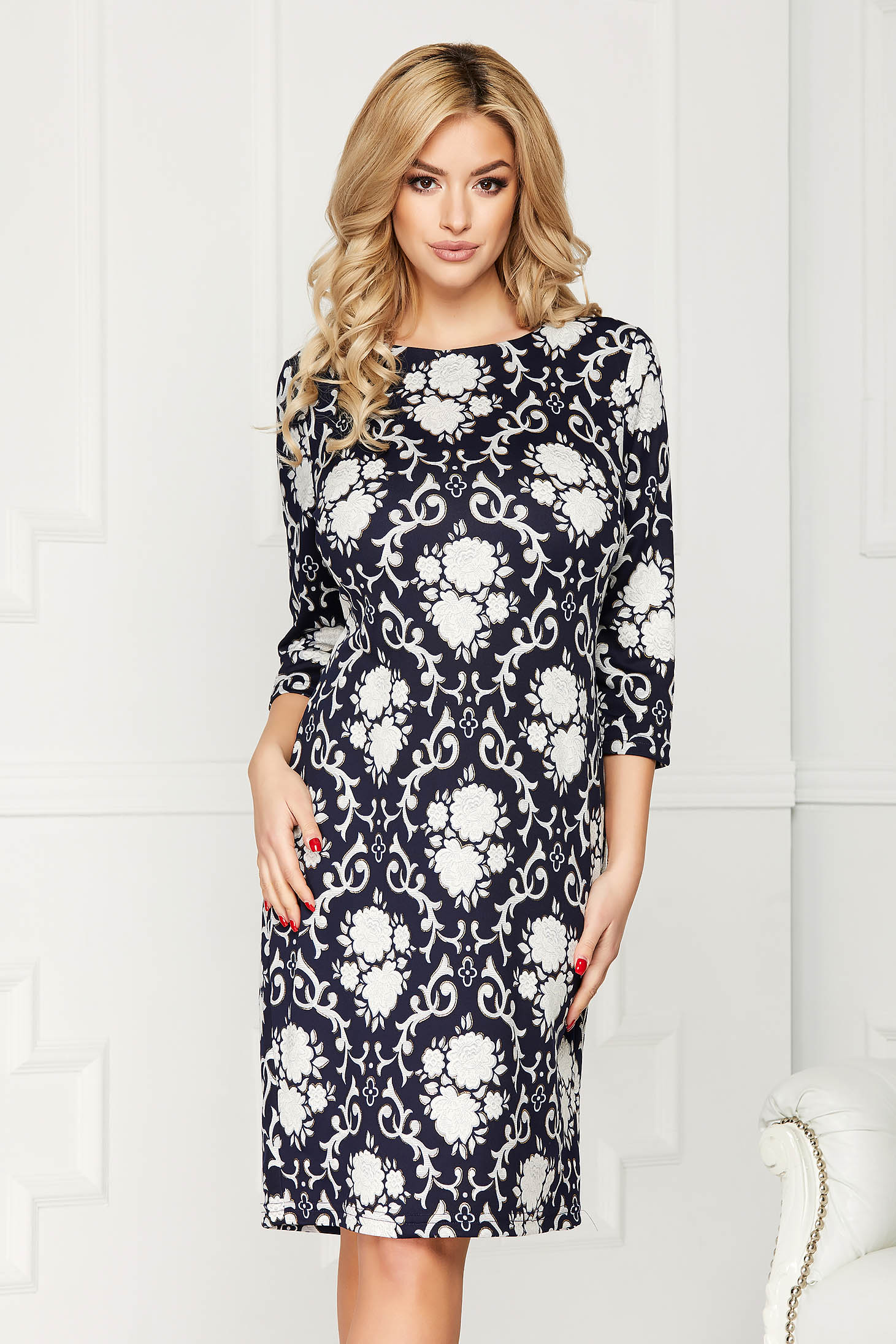 Darkblue dress elegant midi pencil cotton with floral prints long sleeve