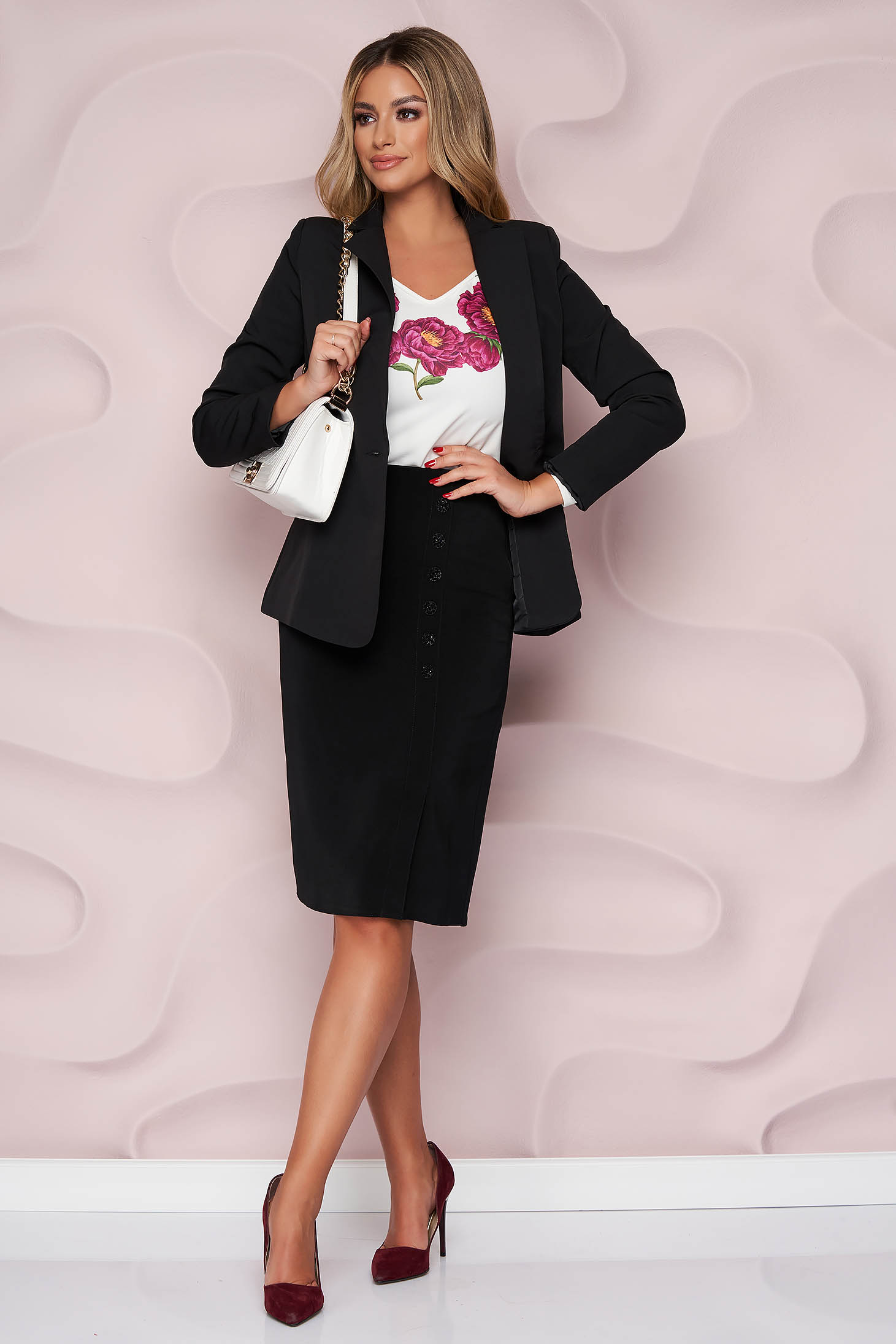 Black skirt elegant midi cloth high waisted with button accessories