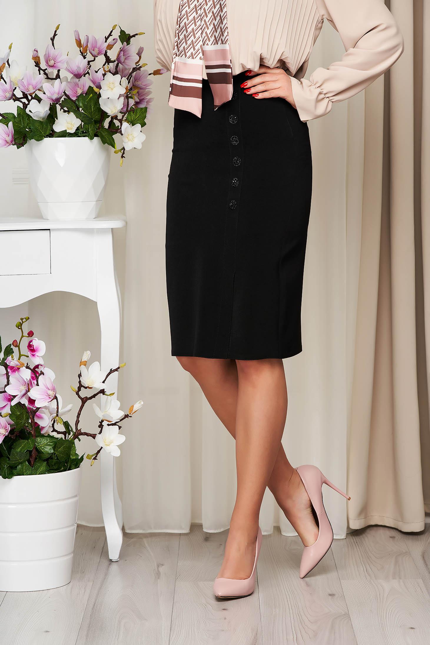 Fusta neagra midi eleganta din stofa elastica cu talie inalta accesorizata cu nasturi