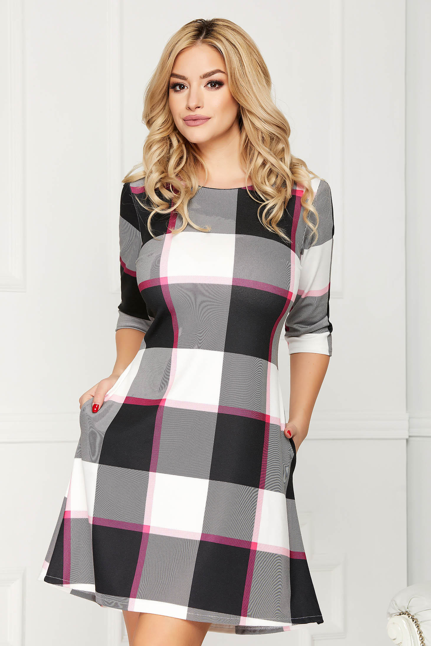 Fuchsia dress casual daily short cut a-line with pockets without clothing