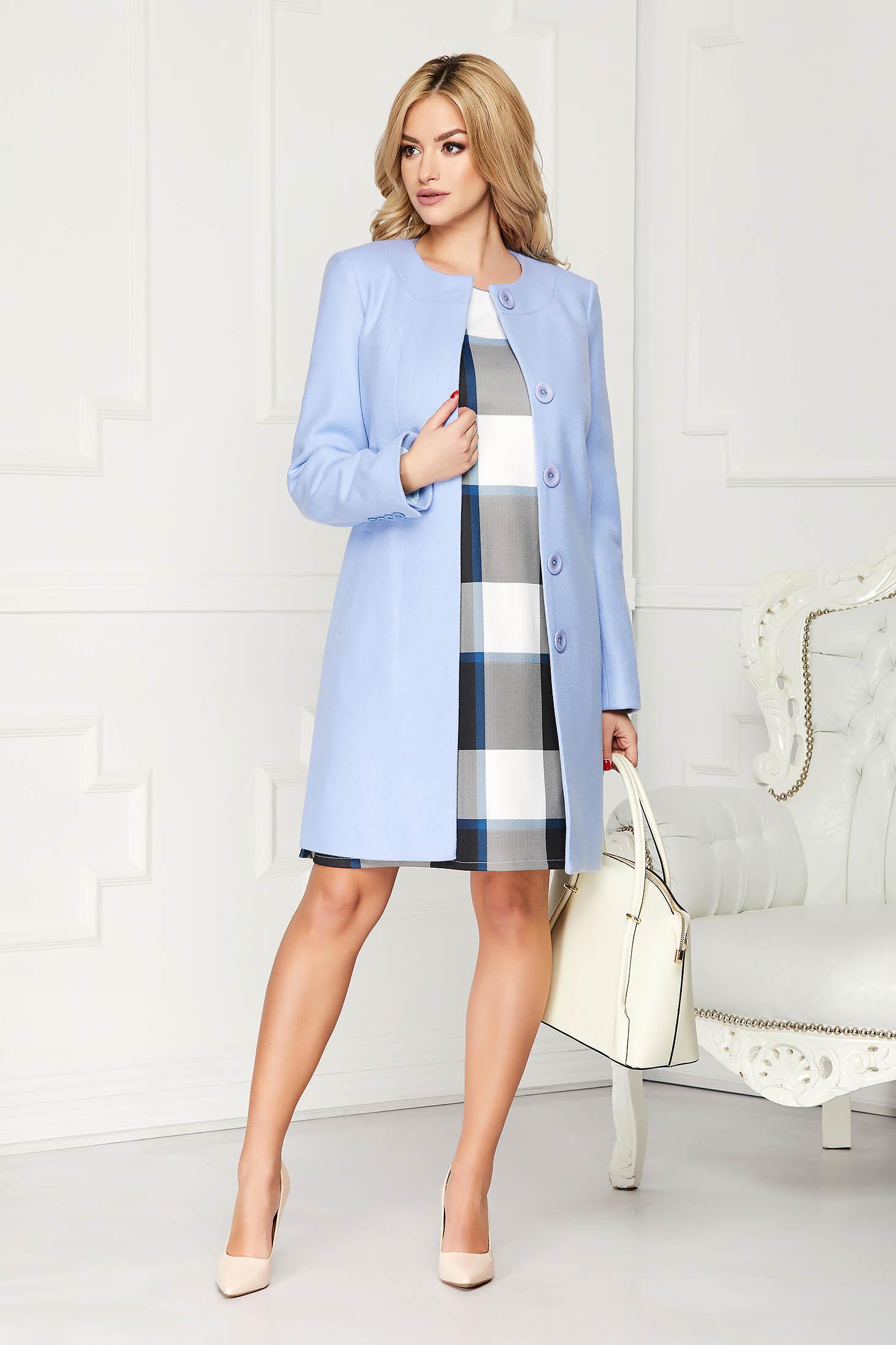 Lightblue trenchcoat elegant short cut wool straight one button fastening