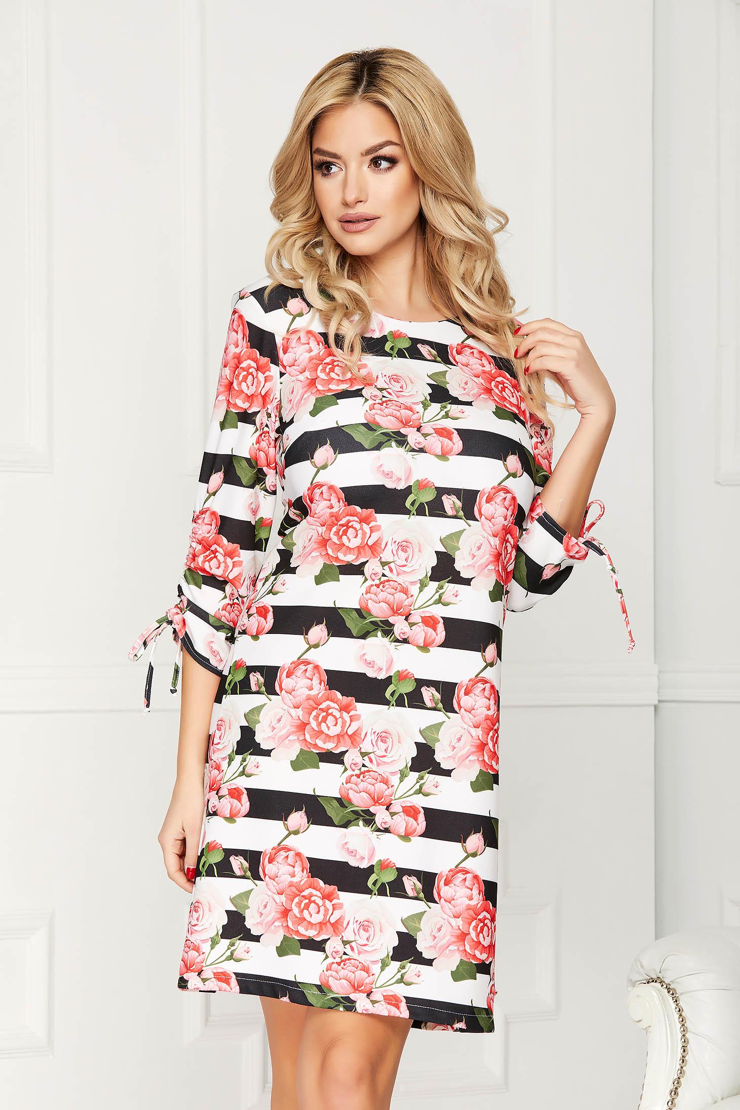 Rochie corai scurta eleganta cu croi in a din stofa cu dungi si imprimeu floral
