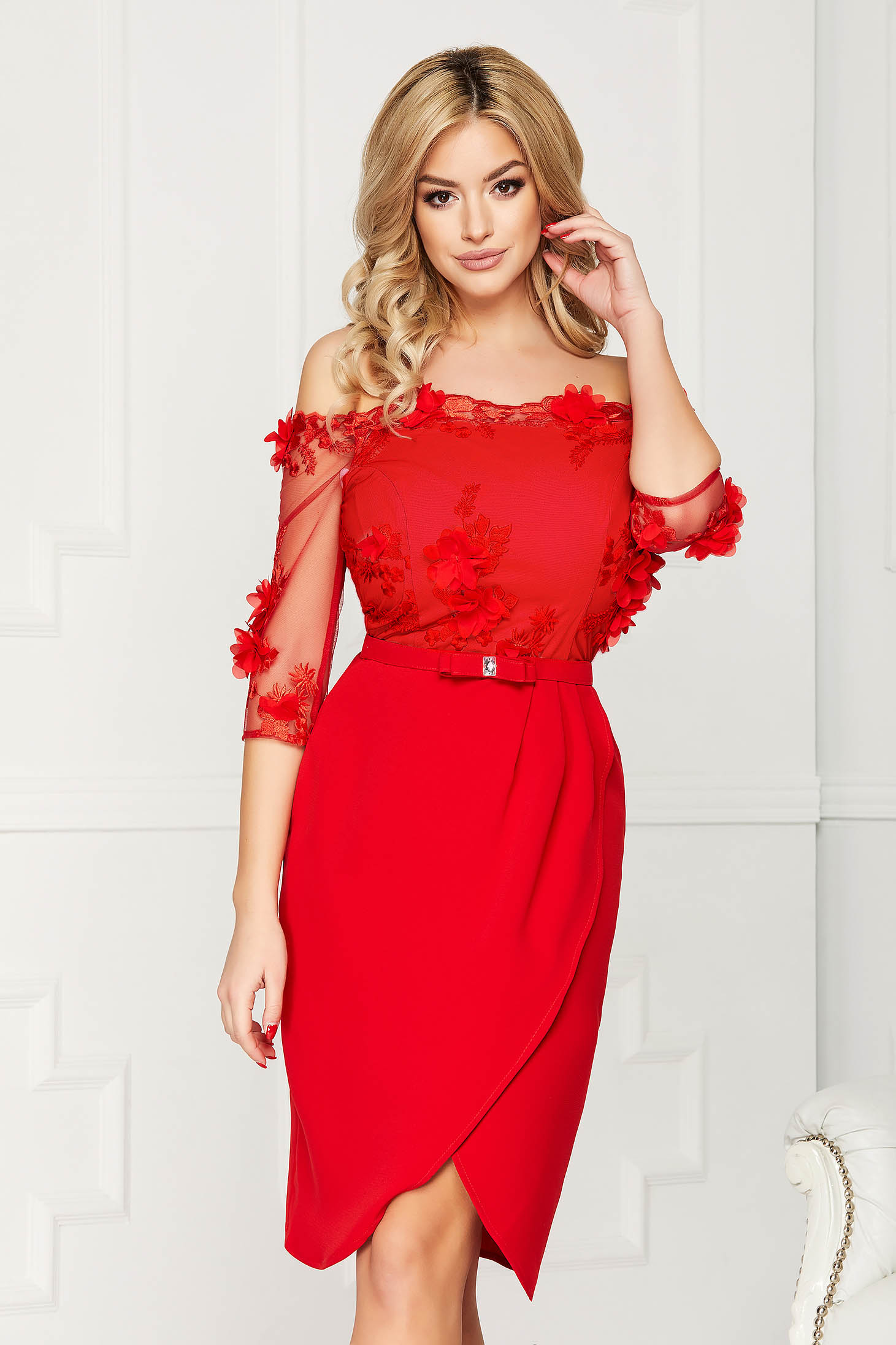 Dress StarShinerS red occasional wrap around pencil off-shoulder cloth