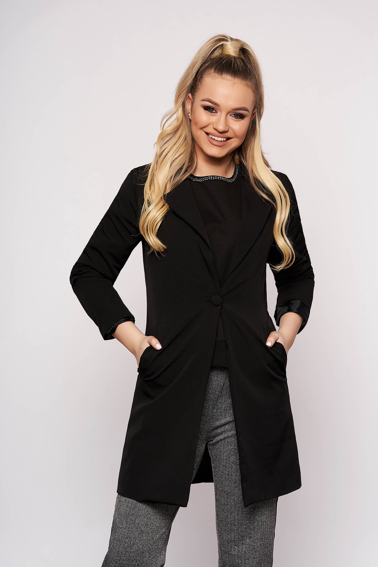 Black jacket casual cloth straight one button fastening
