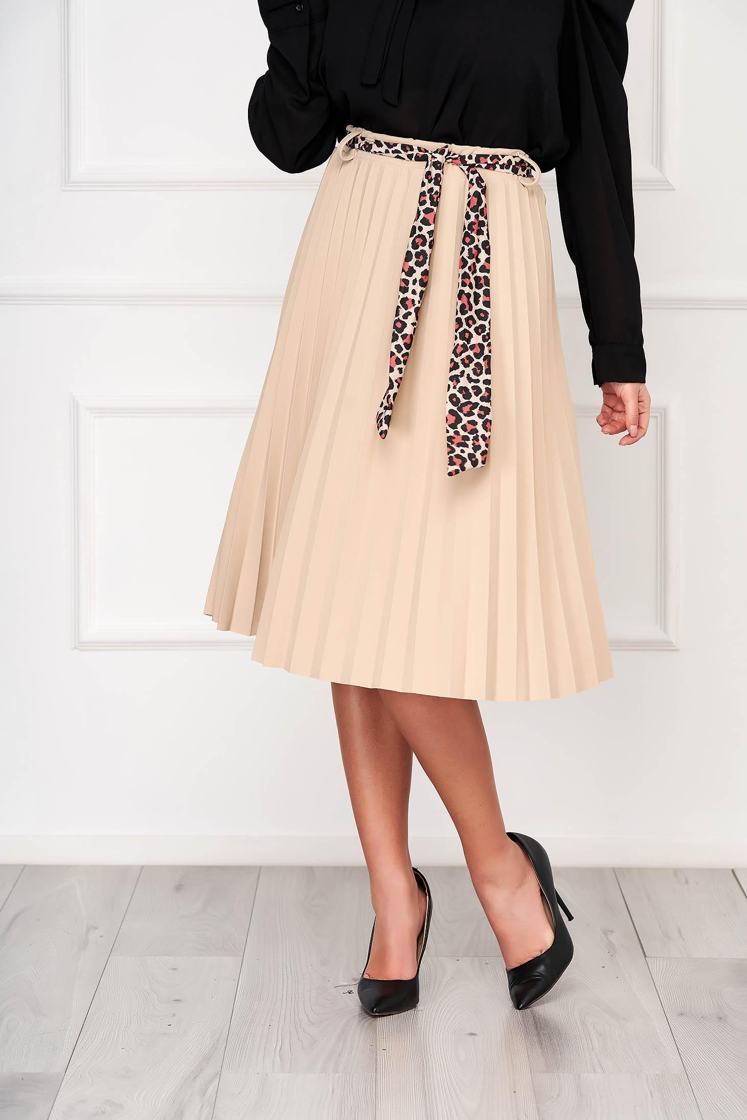 Cream casual midi cloche skirt accessorized with belt pleats of material