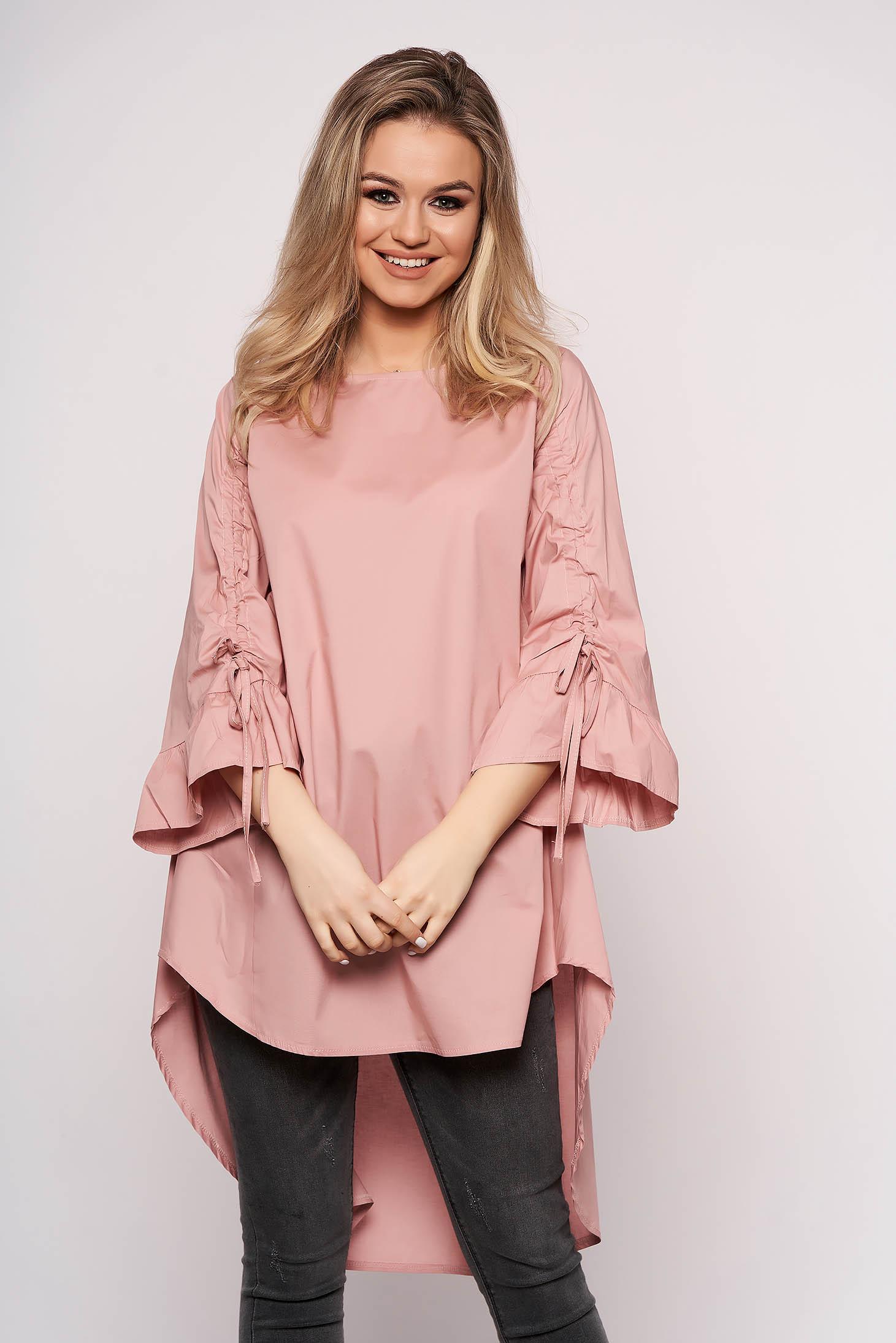 Camasa SunShine roz prafuit casual asimetrica din bumbac cu croi in a si maneca trei sferturi