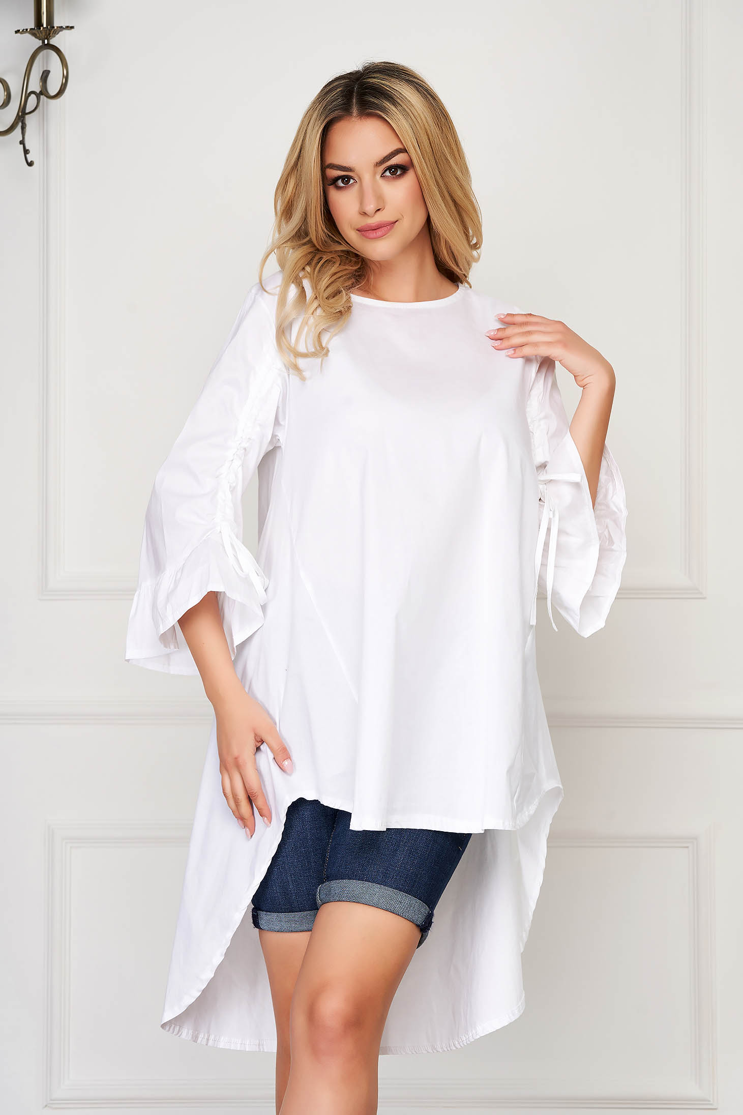 White women`s shirt casual asymmetrical a-line cotton 3/4 sleeve