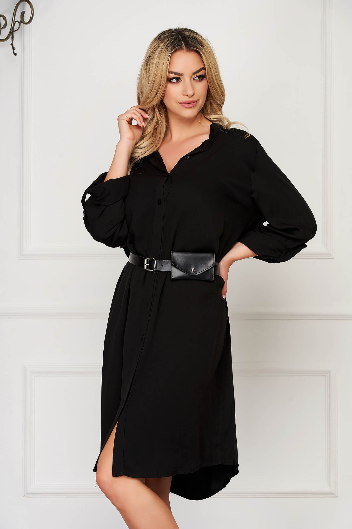 Black dress daily midi straight accessorized with belt faux leather belt