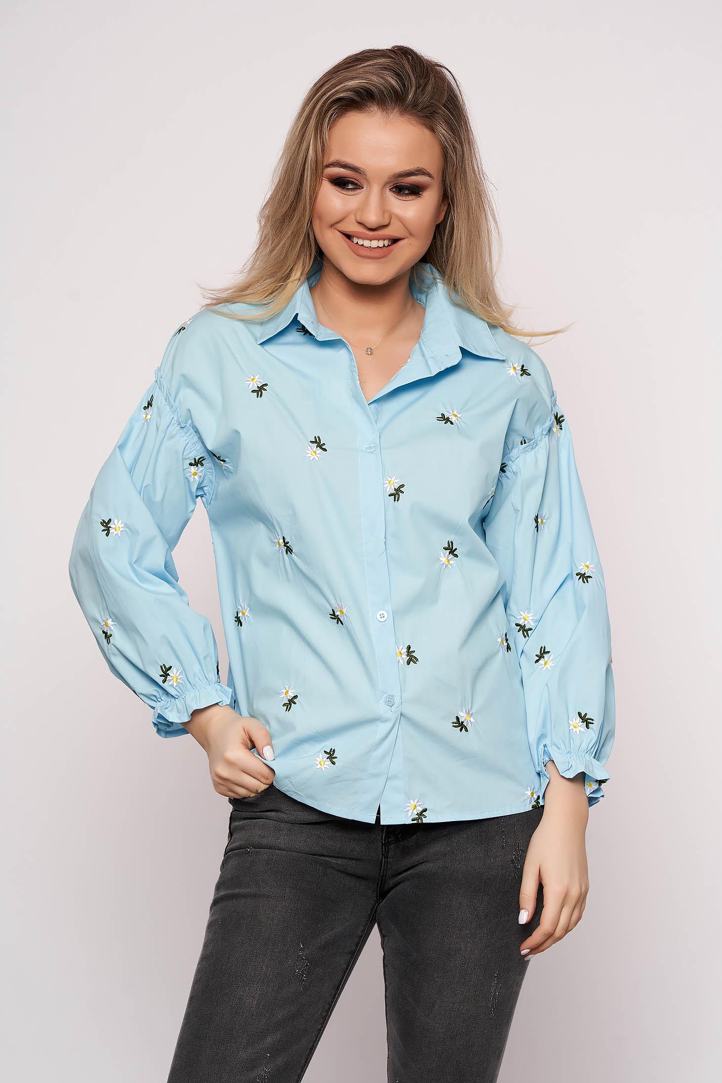 Camasa dama SunShine albastra casual scurta din bumbac cu croi larg cu imprimeu floral