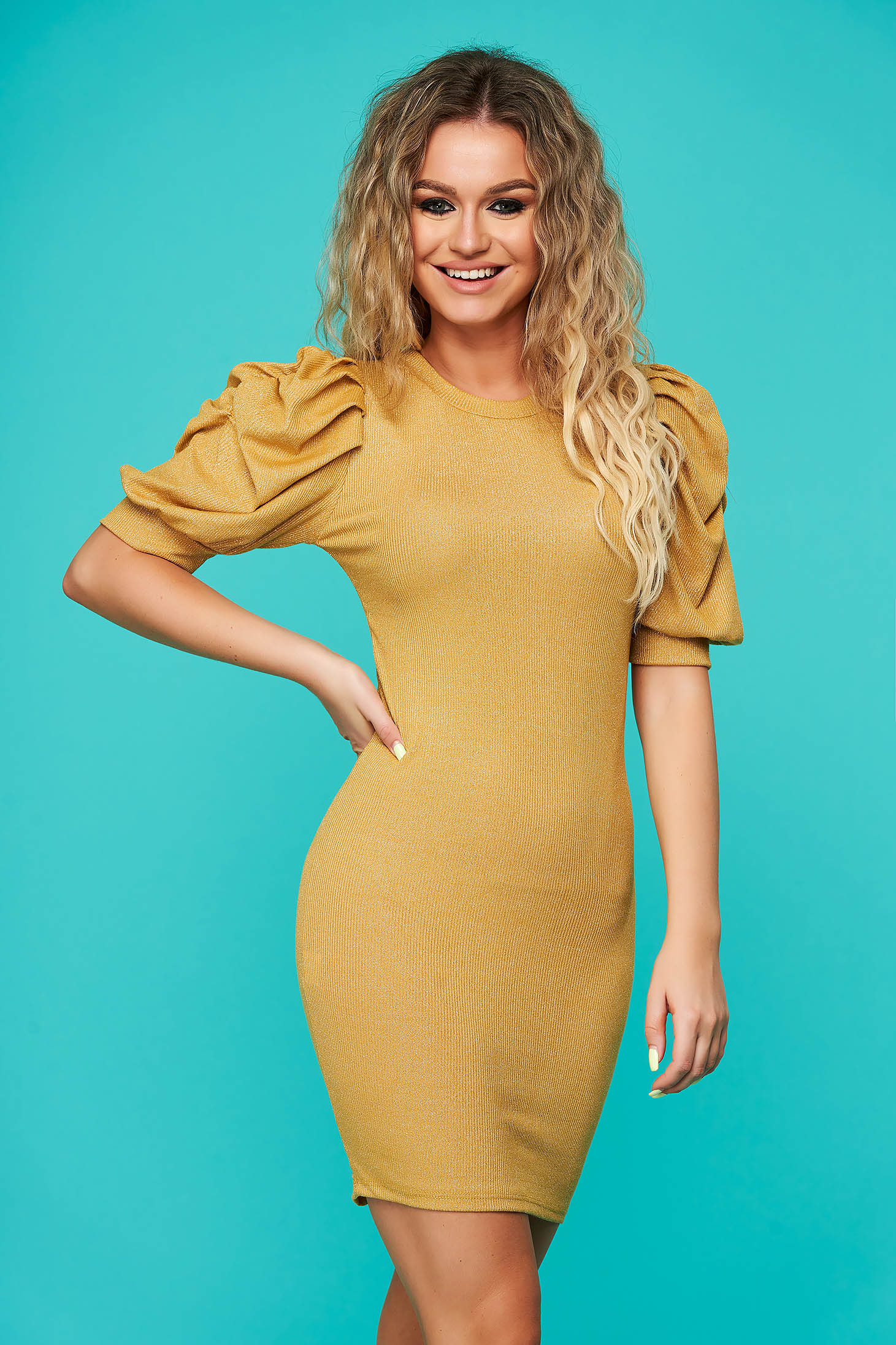 Mustard dress casual daily short cut pencil knitted with glitter details with puffed sleeves