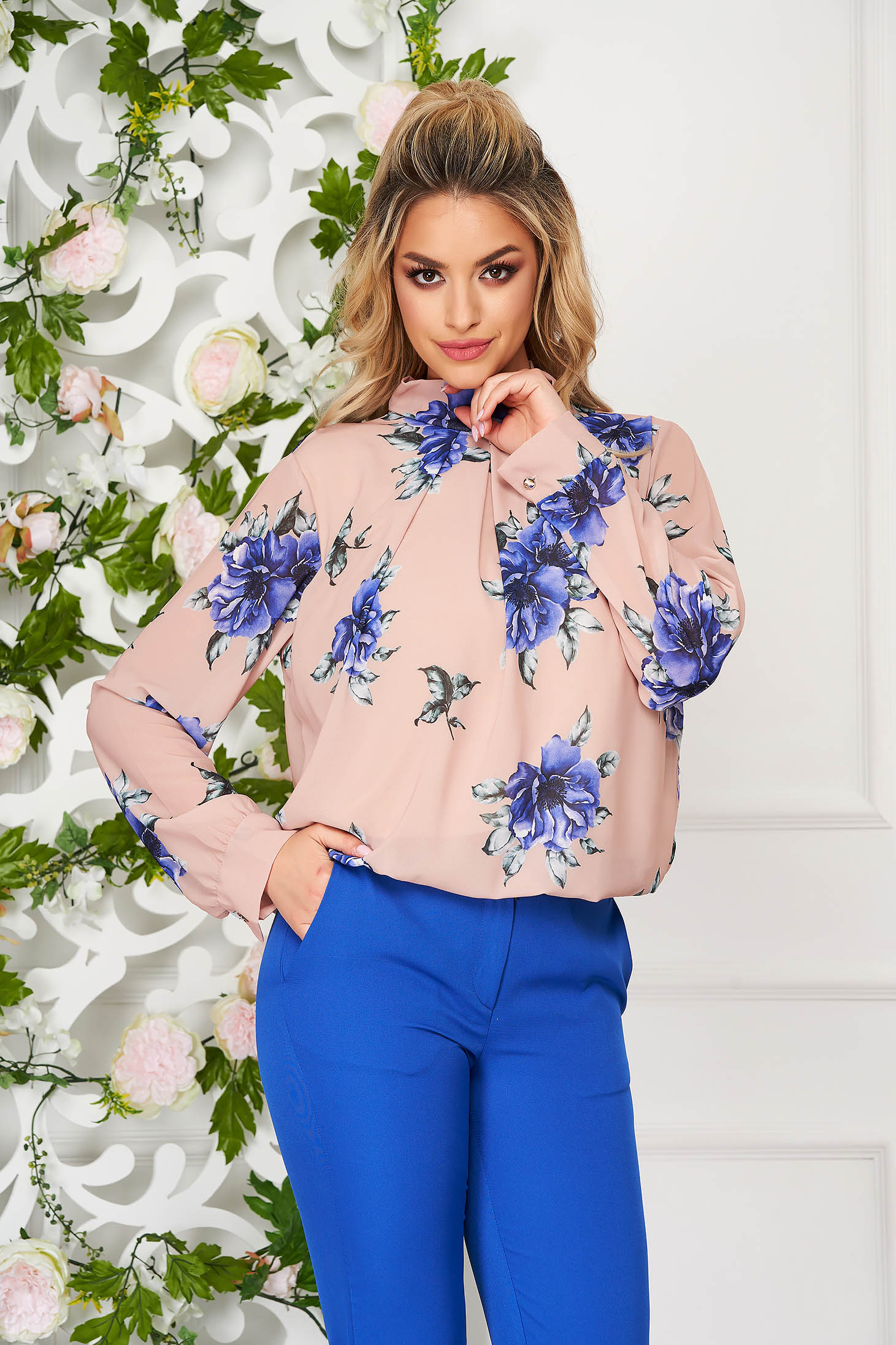 Cappuccino women`s shirt with floral prints from veil fabric short cut flared elegant