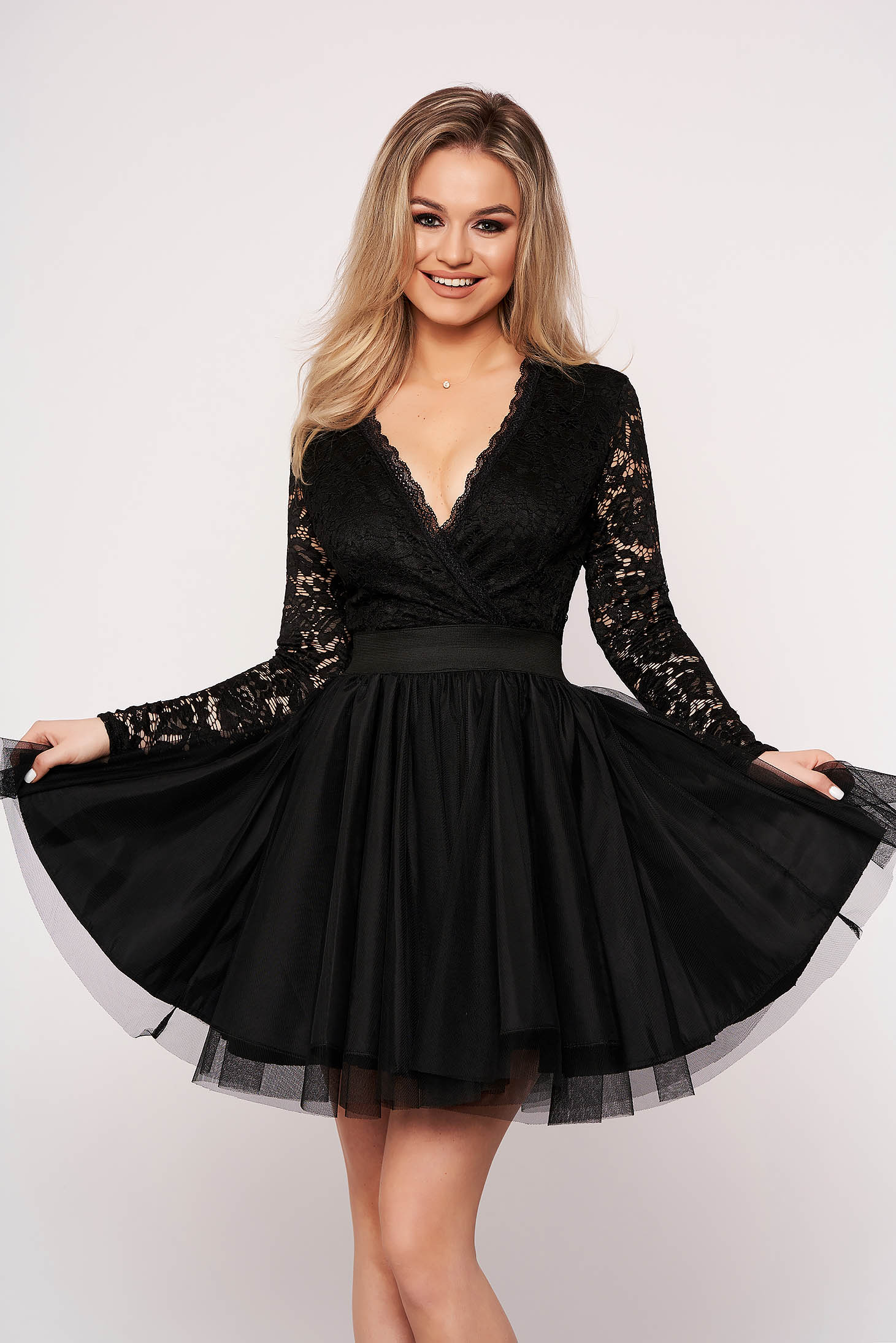Black dress from tulle cloche elegant with v-neckline