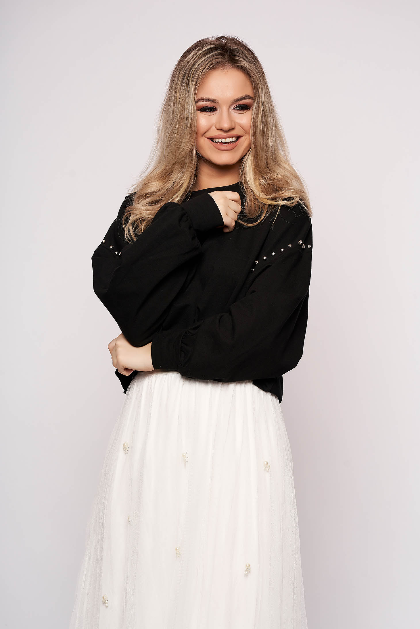 Black women`s blouse casual cotton short cut flared with crystal embellished details