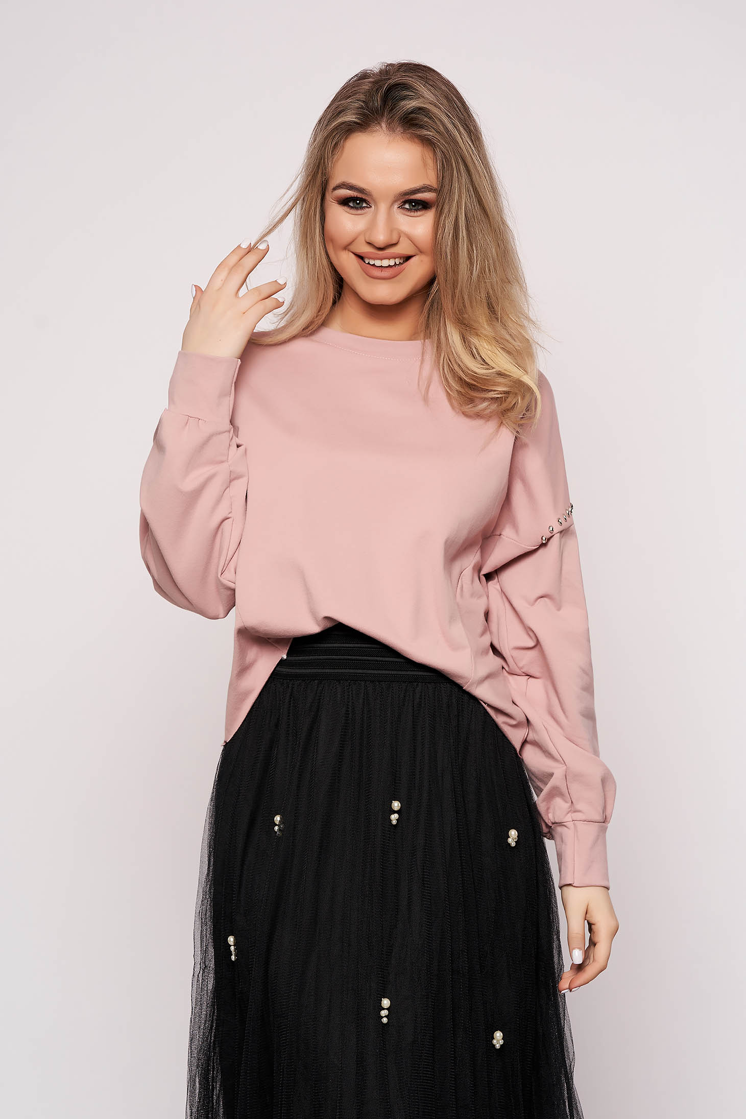 Lightpink women`s blouse casual cotton short cut flared with crystal embellished details