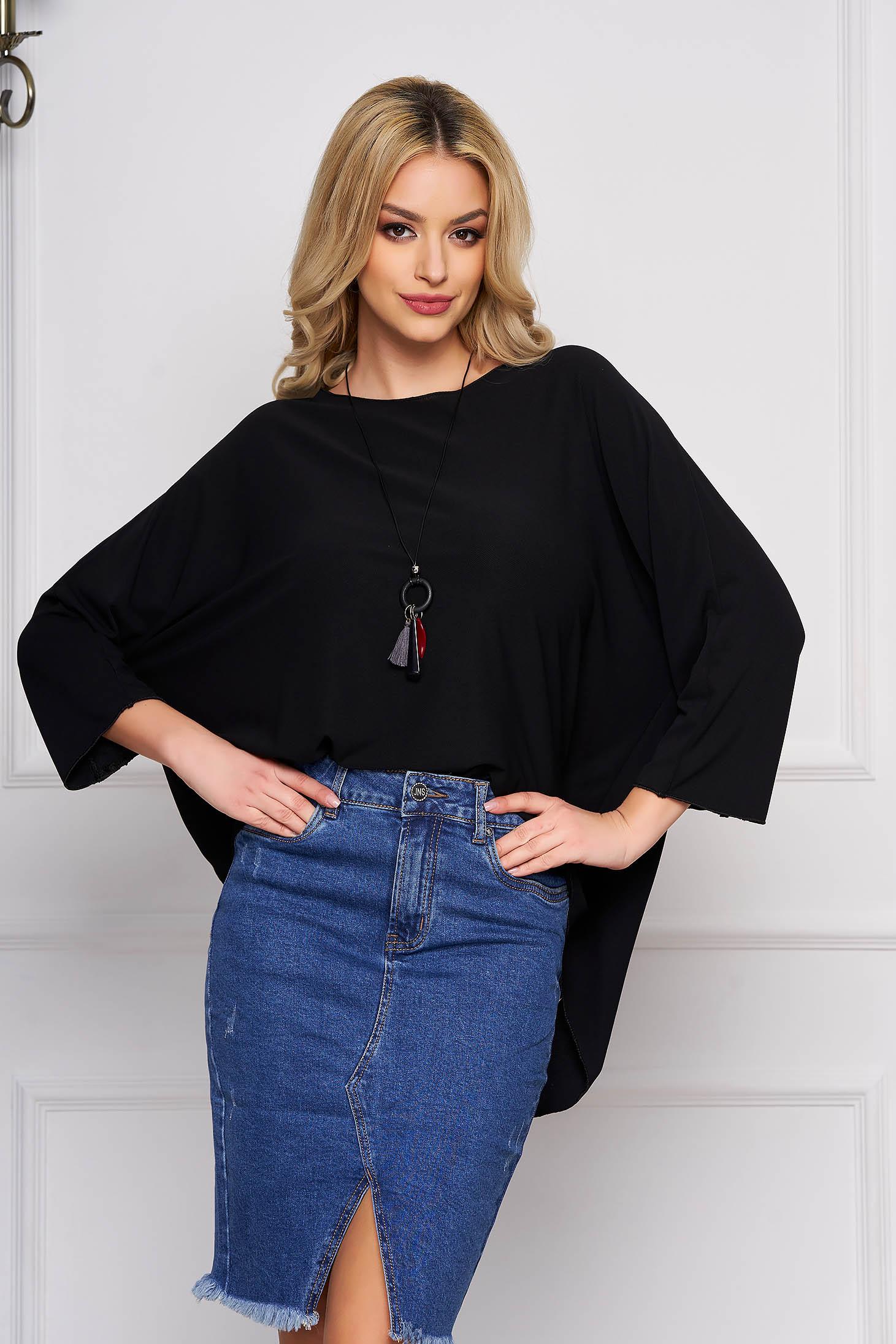 Bluza dama SunShine neagra casual scurta asimetrica cu croi larg