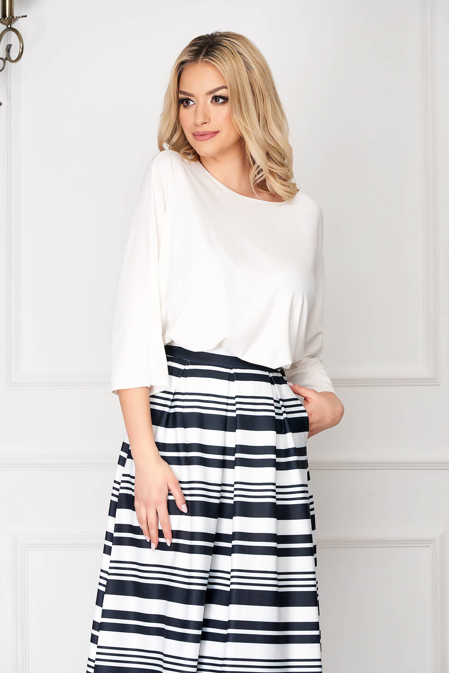 White women`s blouse flared short cut casual asymmetrical