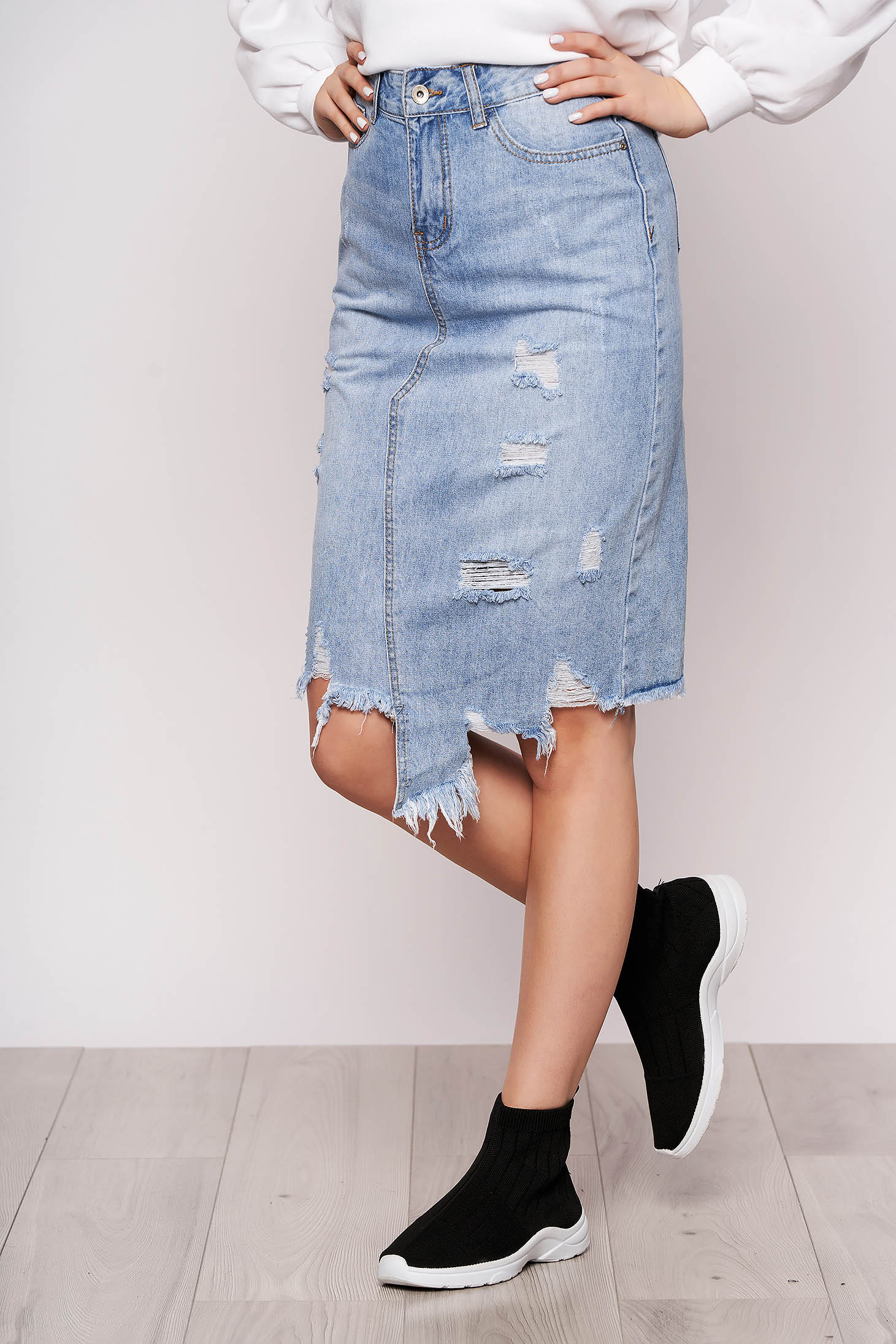 Skirt blue casual midi pencil denim high waisted with ruptures