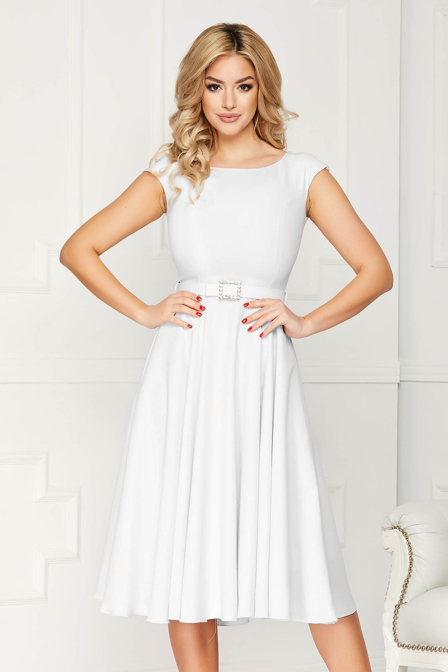 StarShinerS white dress elegant midi a-line cloth accessorized with a waistband