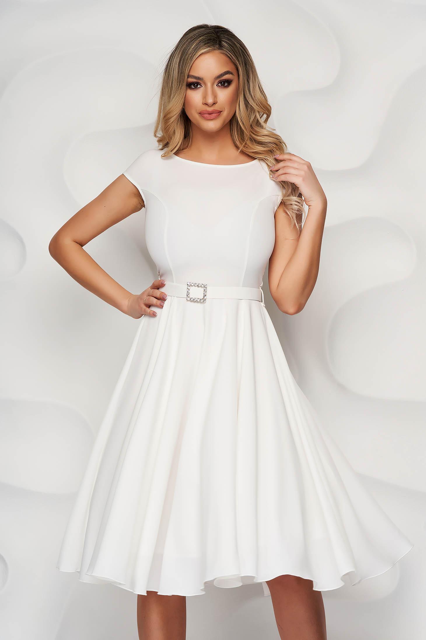 StarShinerS white dress elegant midi cloth accessorized with a waistband