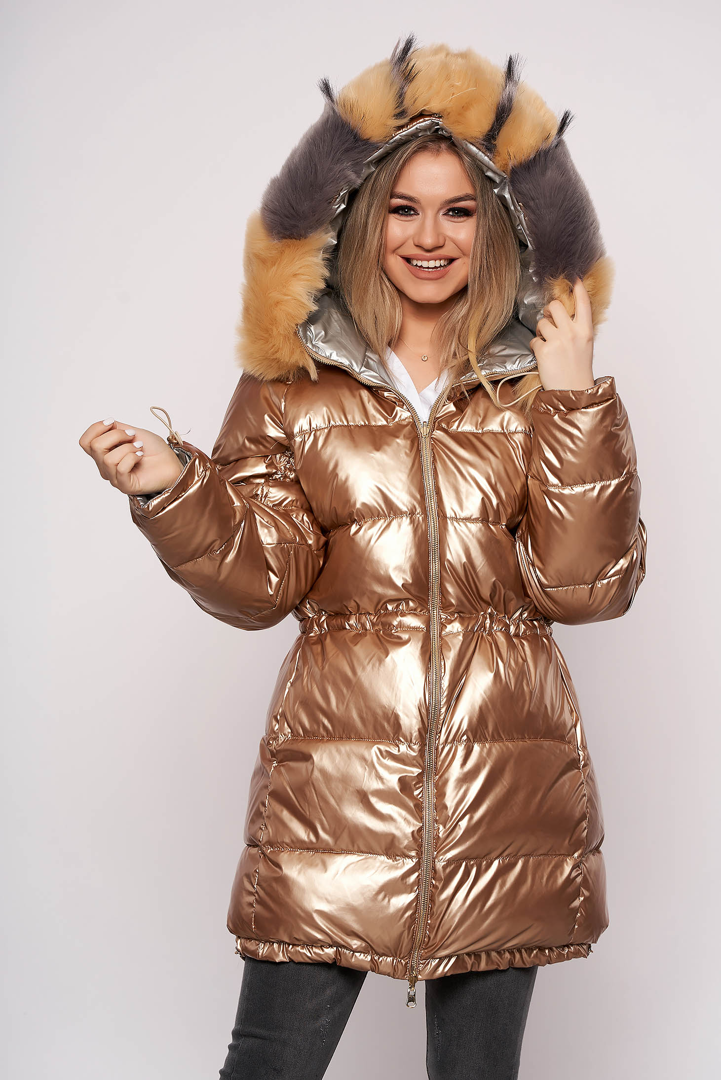 Gold jacket casual from slicker with pockets fur collar detachable collar