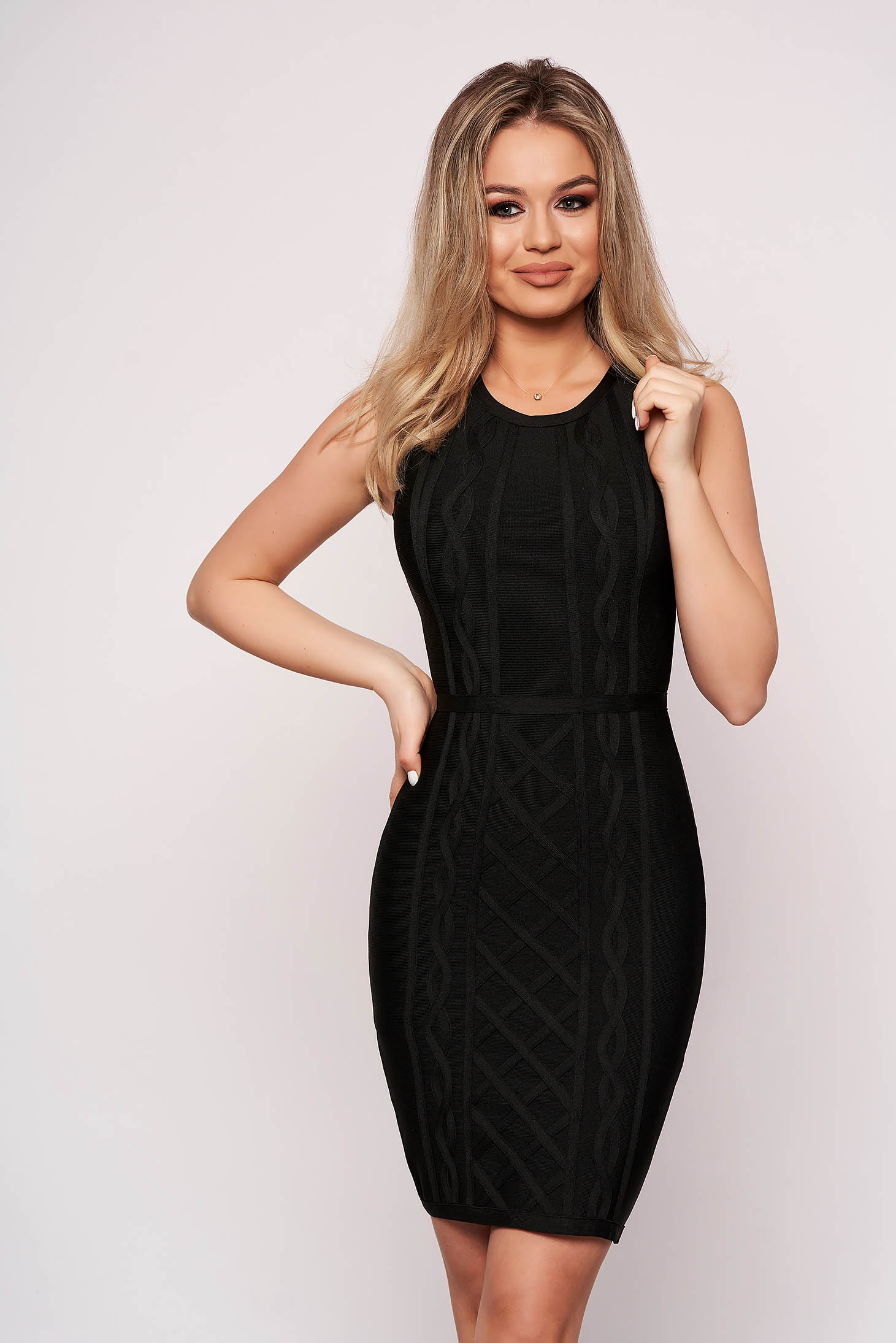 Black dress clubbing short cut pencil sleeveless without clothing stretch