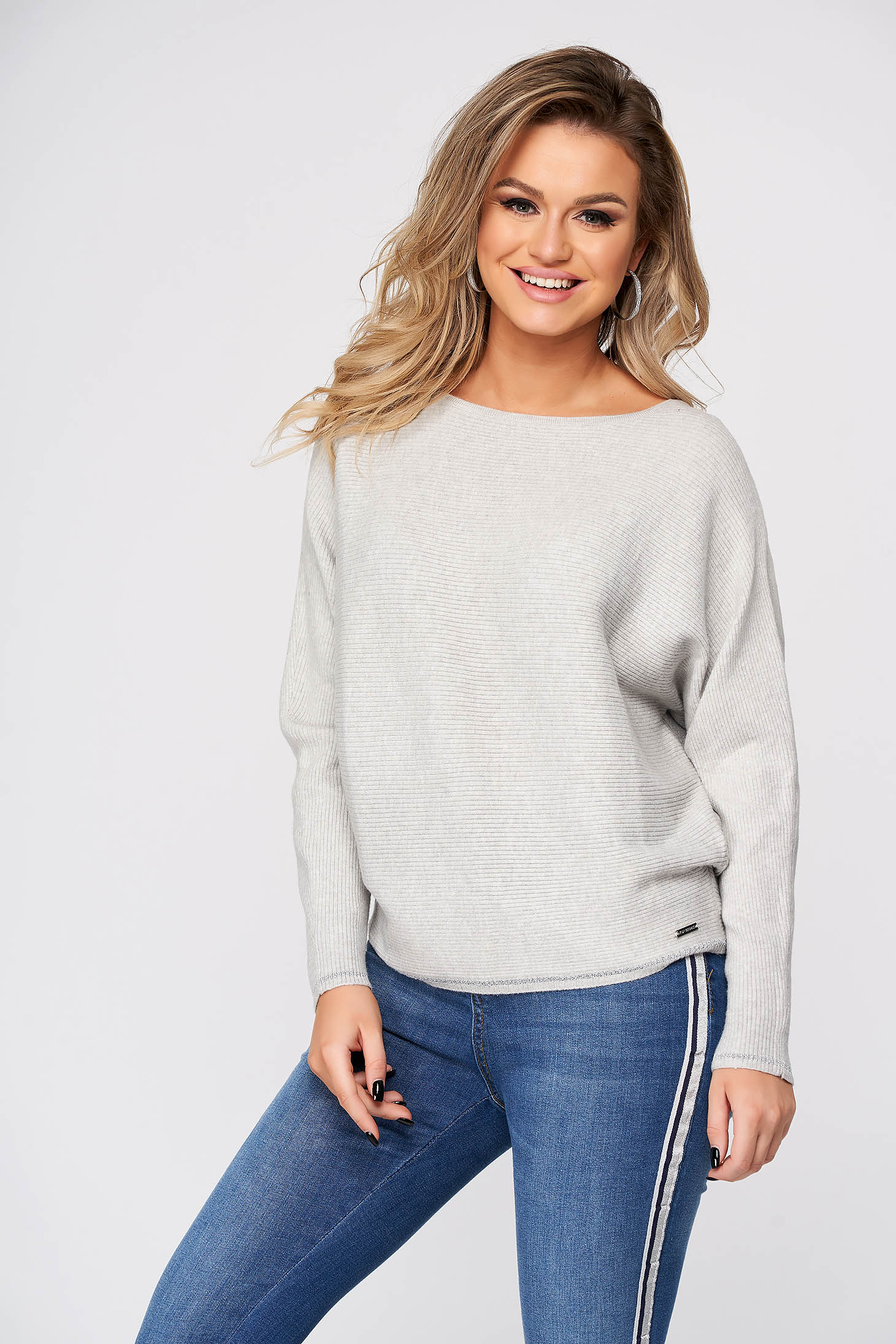 Grey sweater knitted casual flared