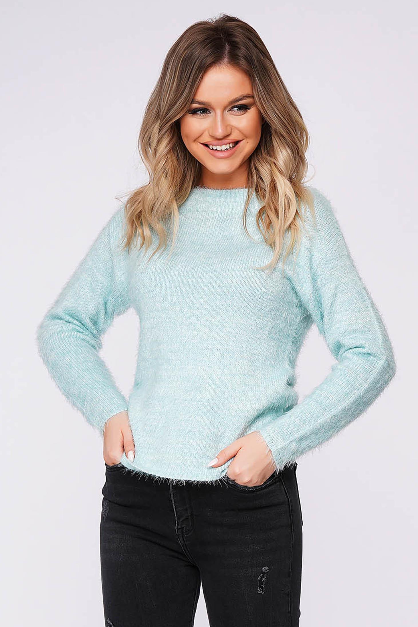 Pulover Top Secret mint mulat din material pufos tricotat