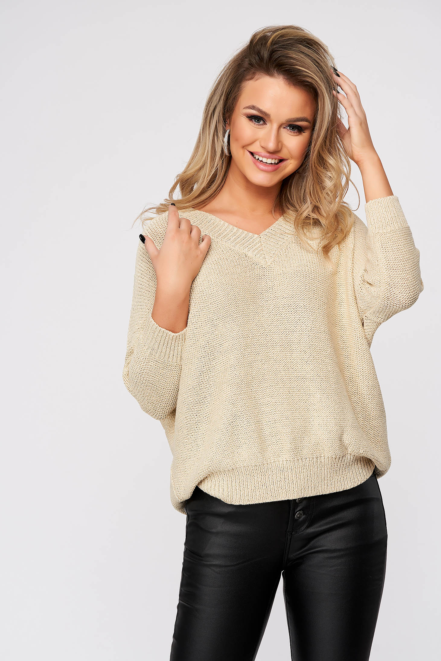 Peach sweater casual flared with lame thread knitted fabric