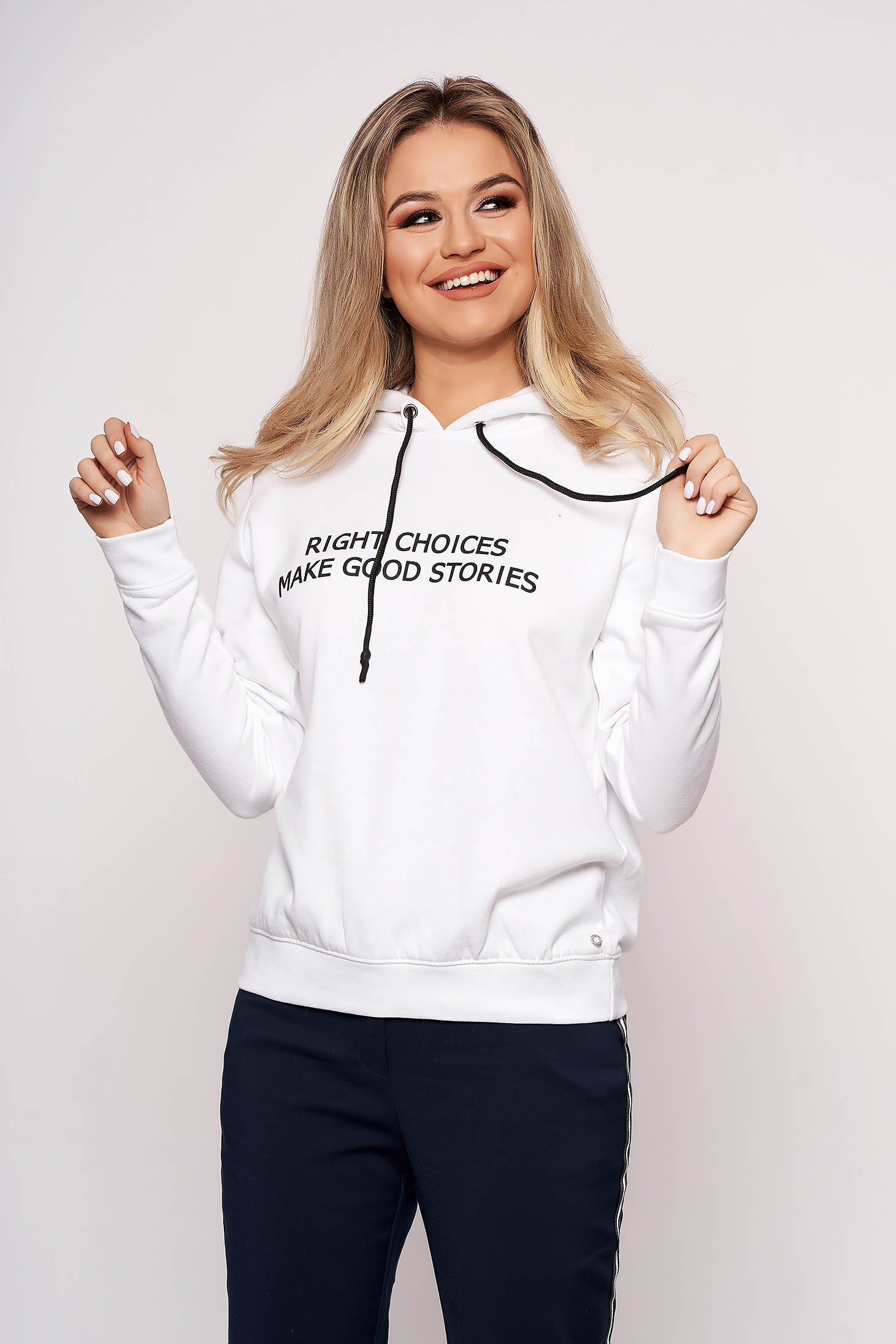 White women`s blouse casual hooded with writing print long sleeved