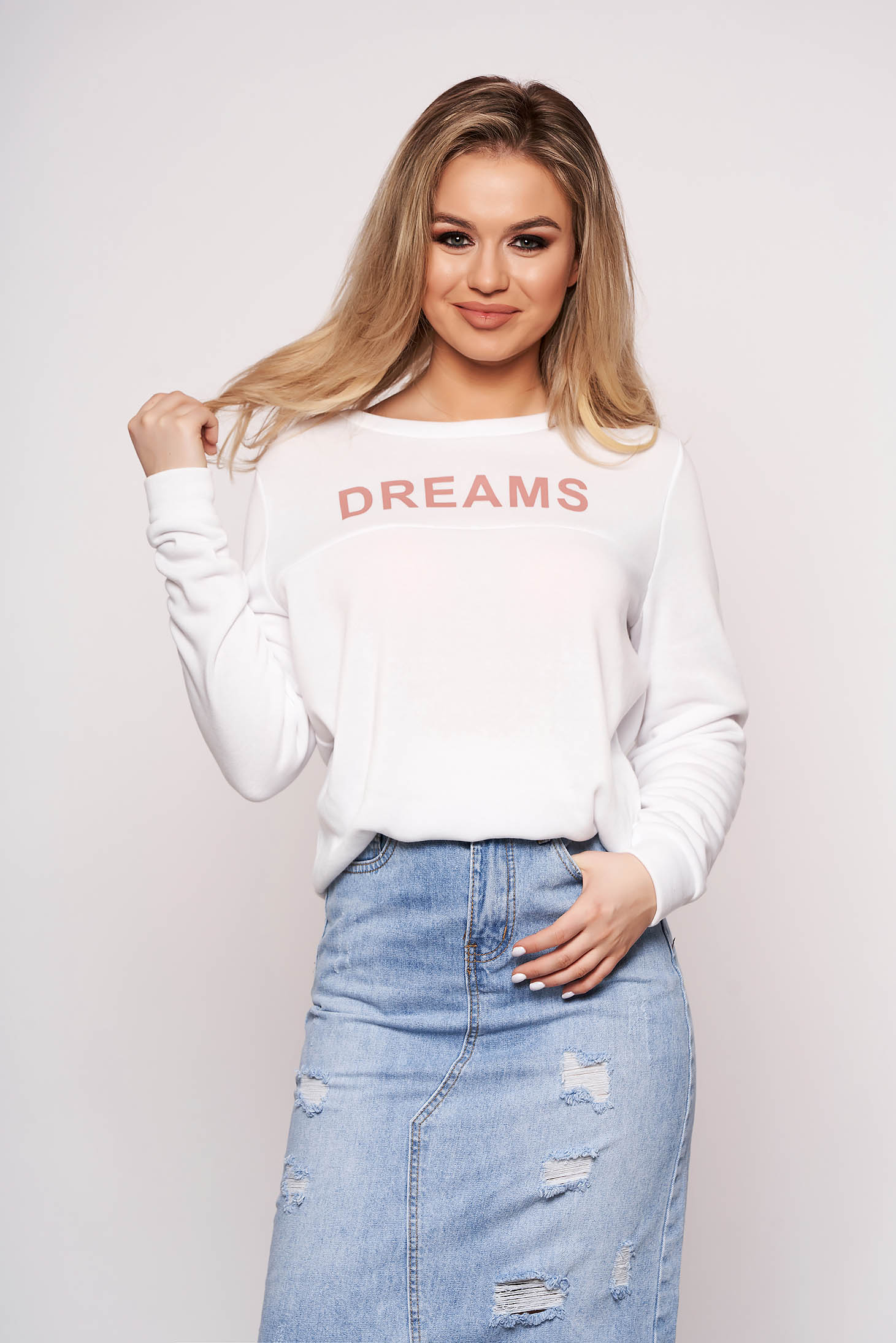 White women`s blouse cotton casual with writing print long sleeved
