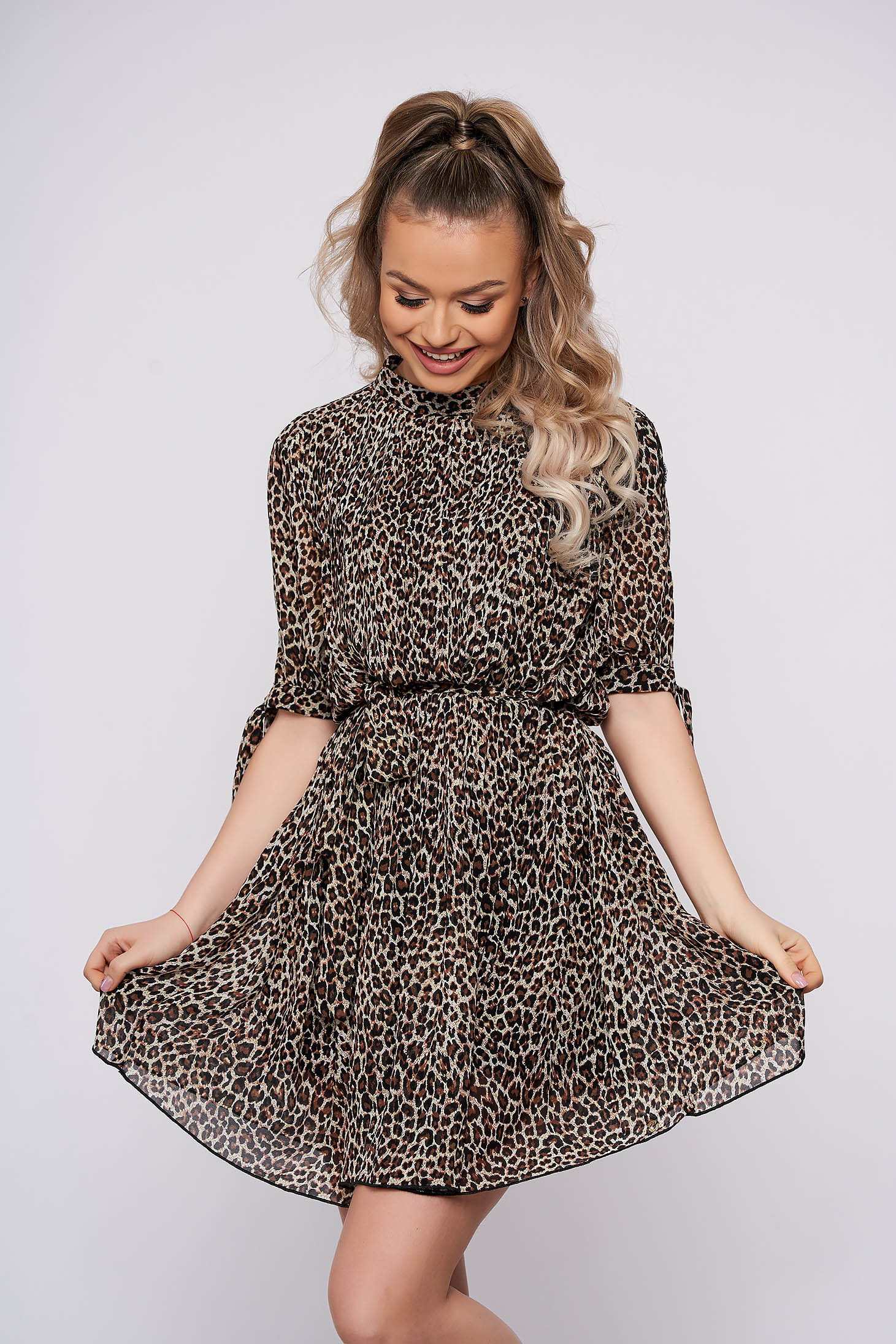 Peach casual short cut dress from veil fabric animal print