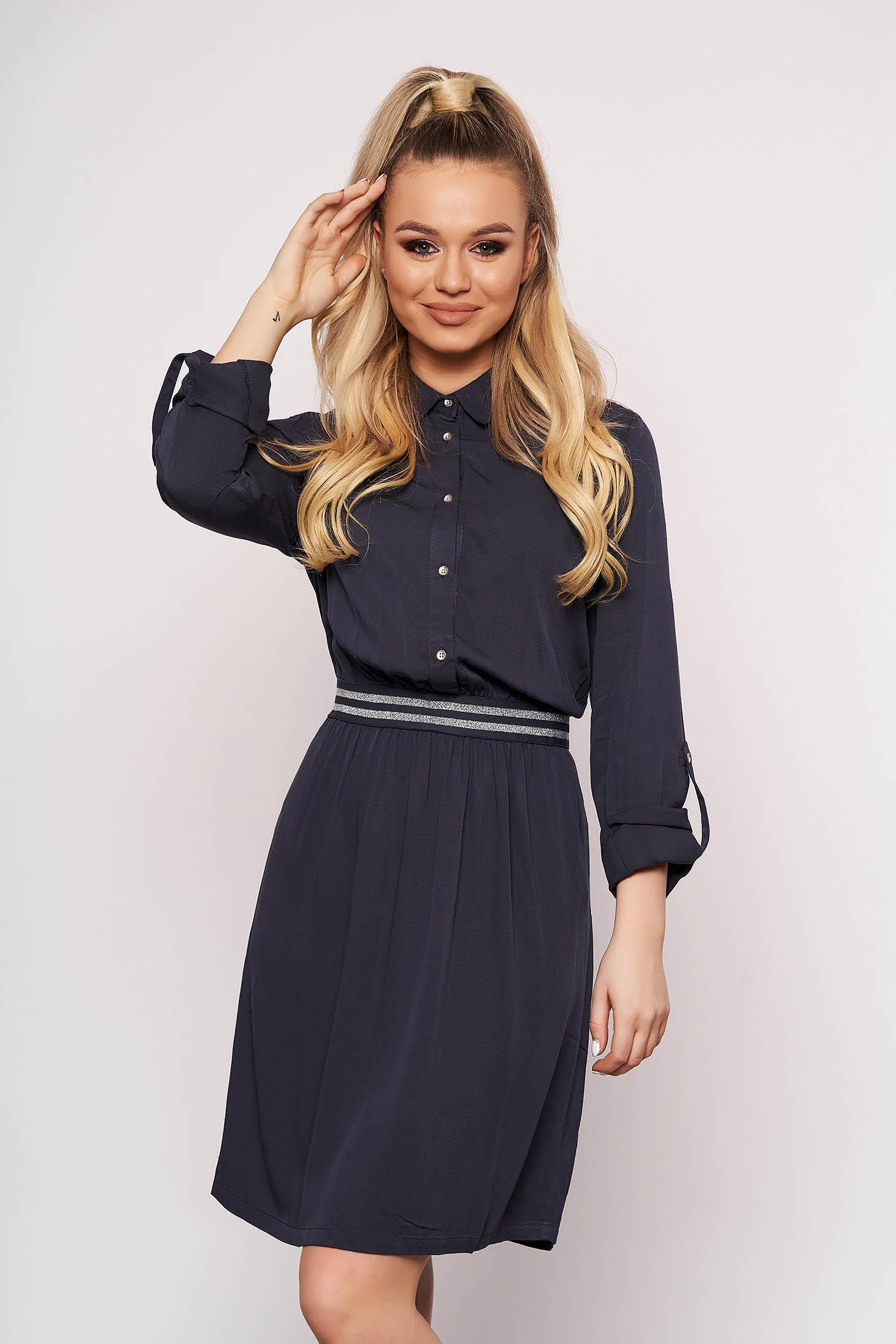 Darkblue dress casual short cut cloche daily cotton thin fabric with elastic waist