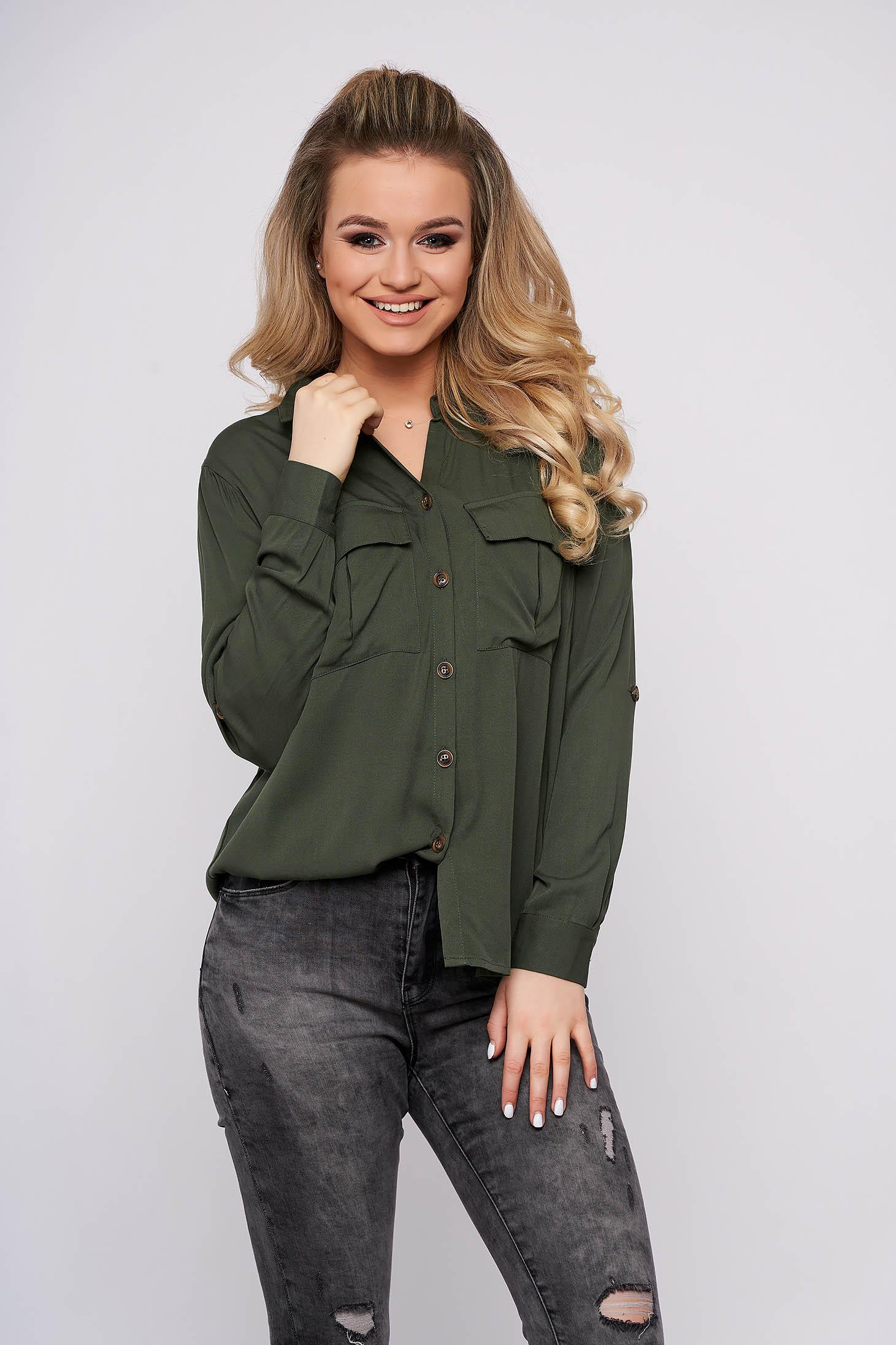 Camasa dama Top Secret verde casual scurta din bumbac cu maneci lungi si buzunare