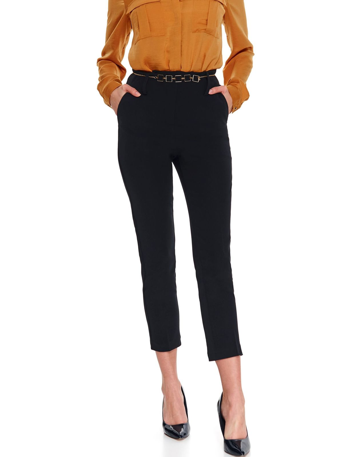 Black trousers casual conical cloth thin fabric with pockets