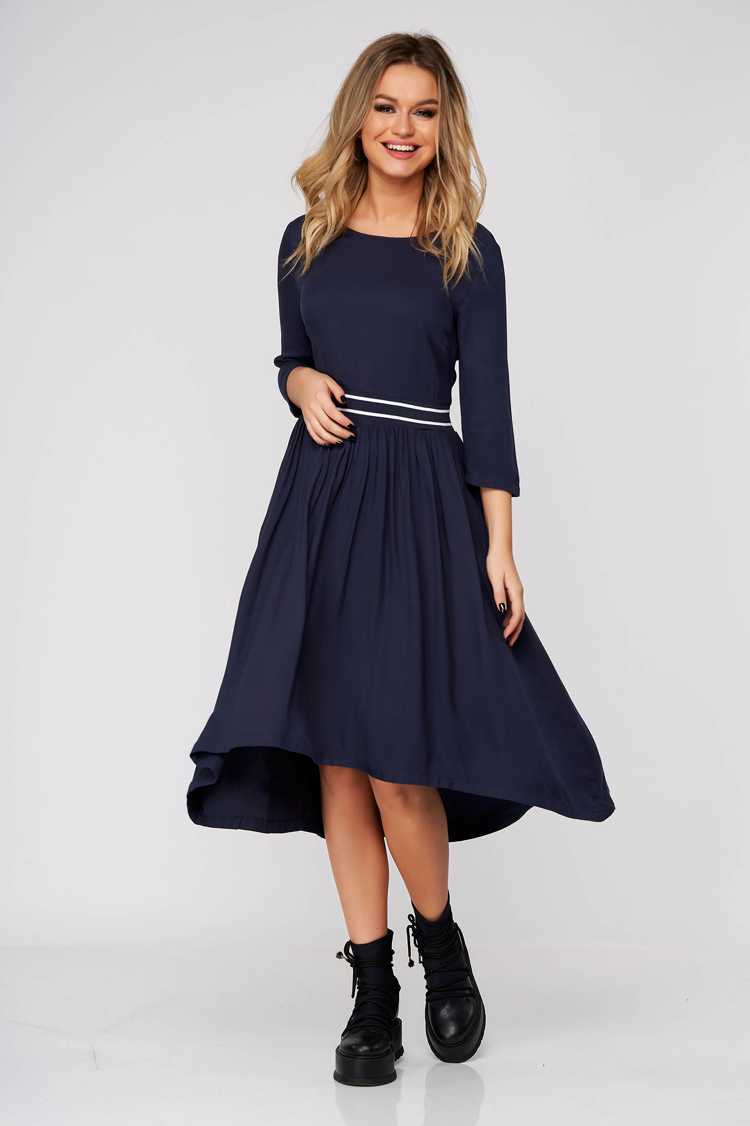 Darkblue dress midi daily asymmetrical cloche with pockets