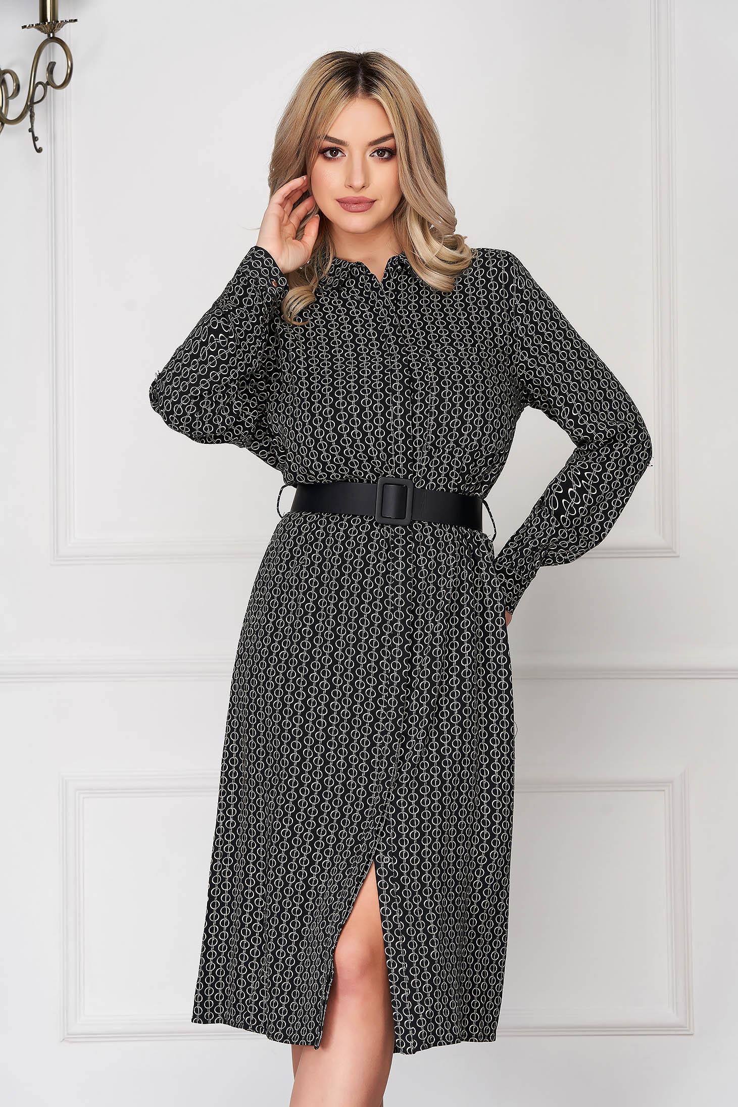 Fekete hétköznapi midi galléros harang ruha hosszú ujjakkal