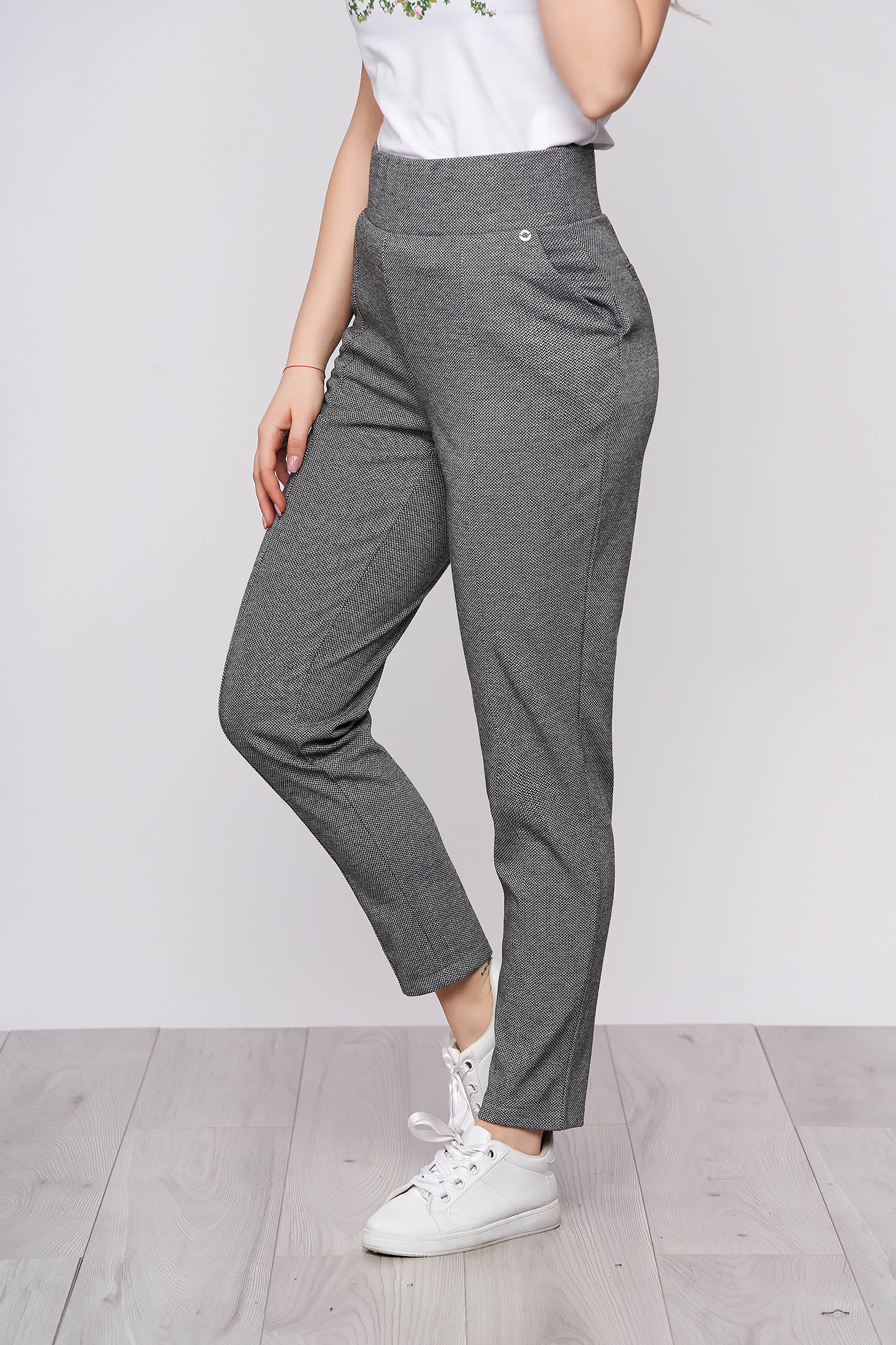 Darkgrey casual high waisted trousers with pockets dogtooth print