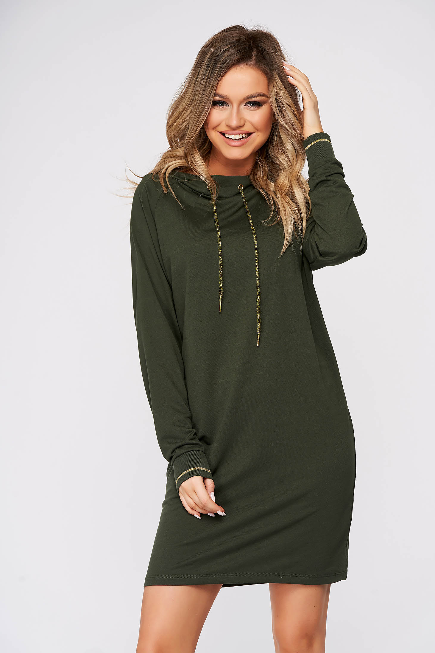 Green dress casual short cut flared with laced details